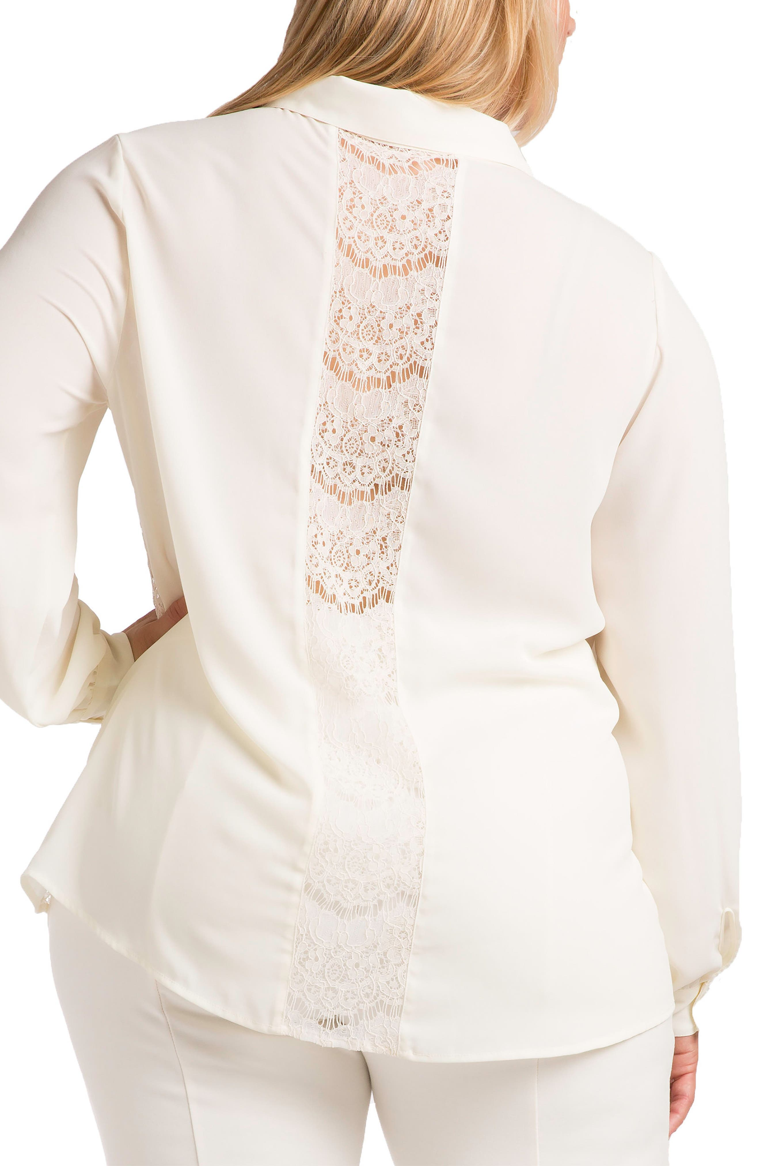 STANDARDS & PRACTICES, Coco Lace Front Shirt, Alternate thumbnail 2, color, WHITE