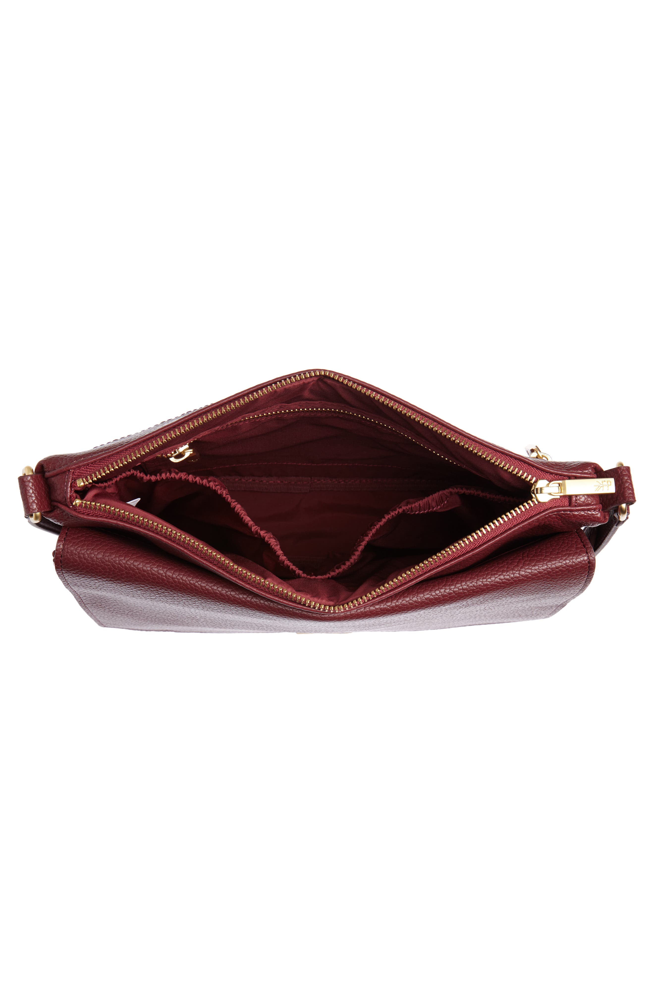 FRESHLY PICKED, Classic Faux Leather Crossbody Diaper Bag, Alternate thumbnail 4, color, BURGUNDY