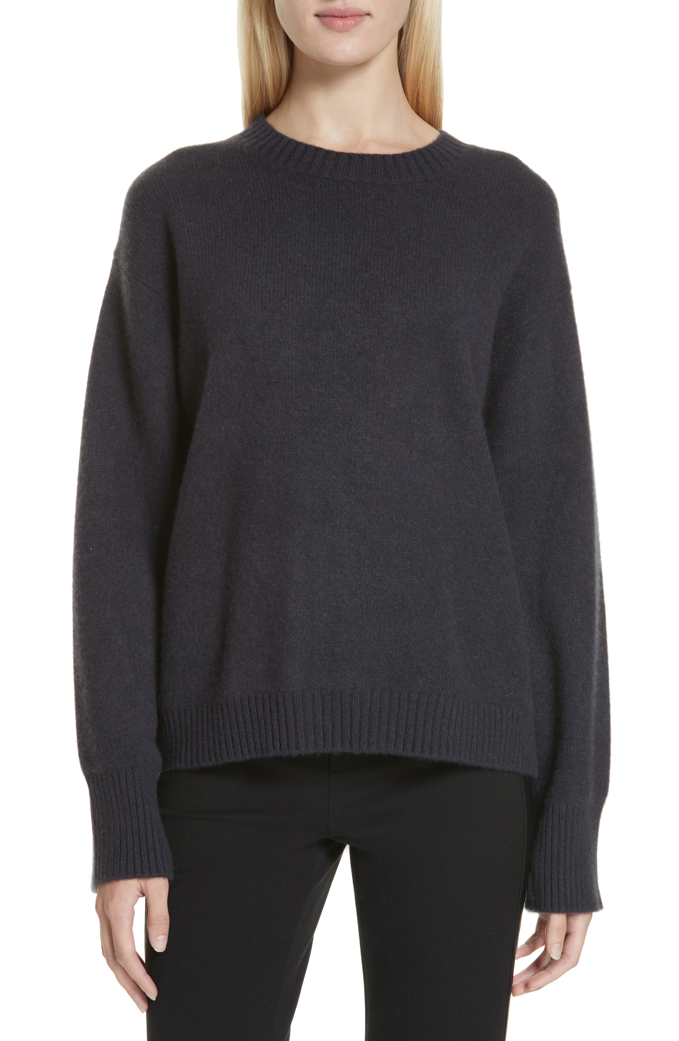 VINCE, Boxy Cashmere Sweater, Main thumbnail 1, color, OBSIDIAN