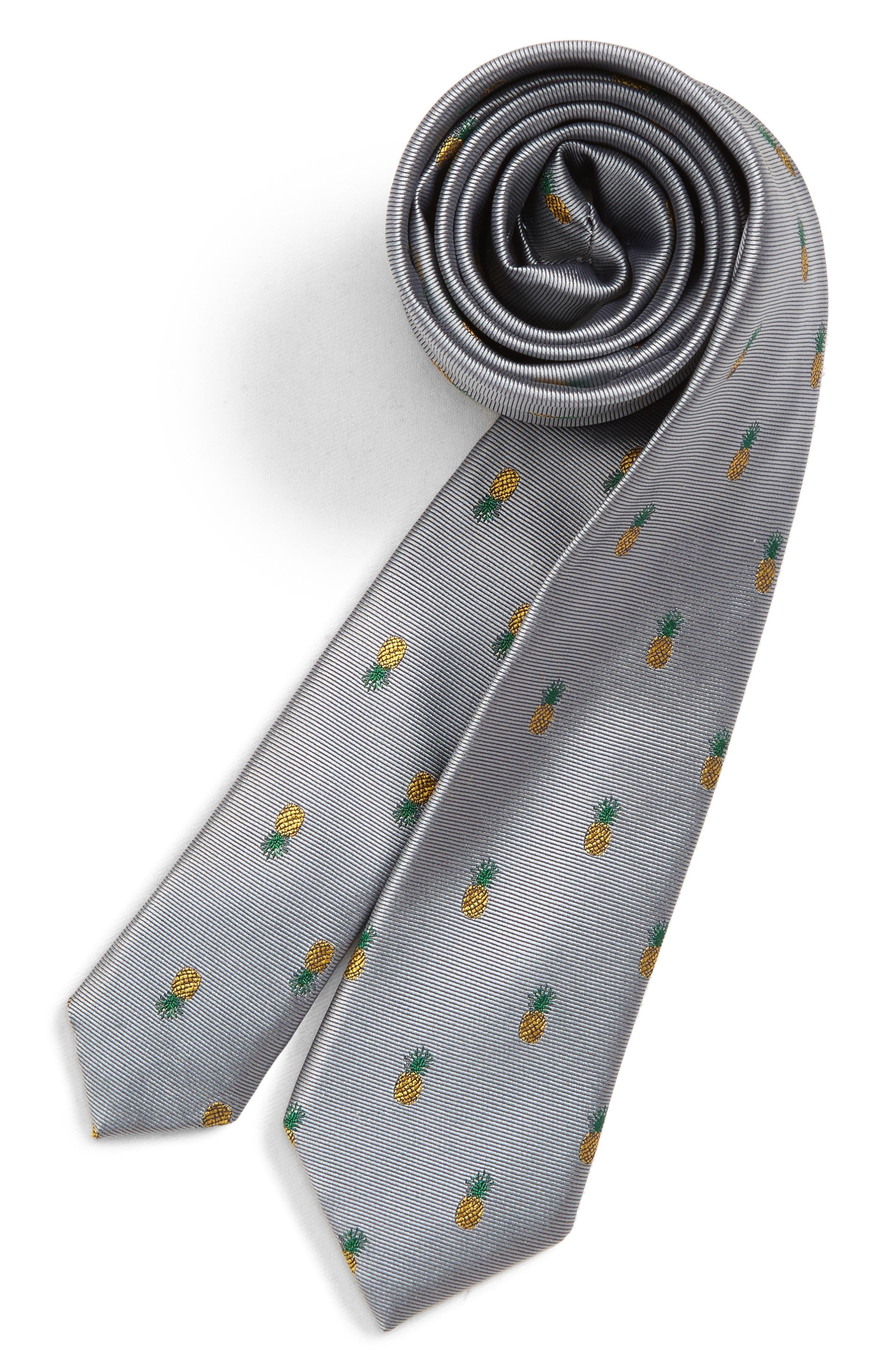 NORDSTROM, Pineapple Silk Tie, Main thumbnail 1, color, GREY
