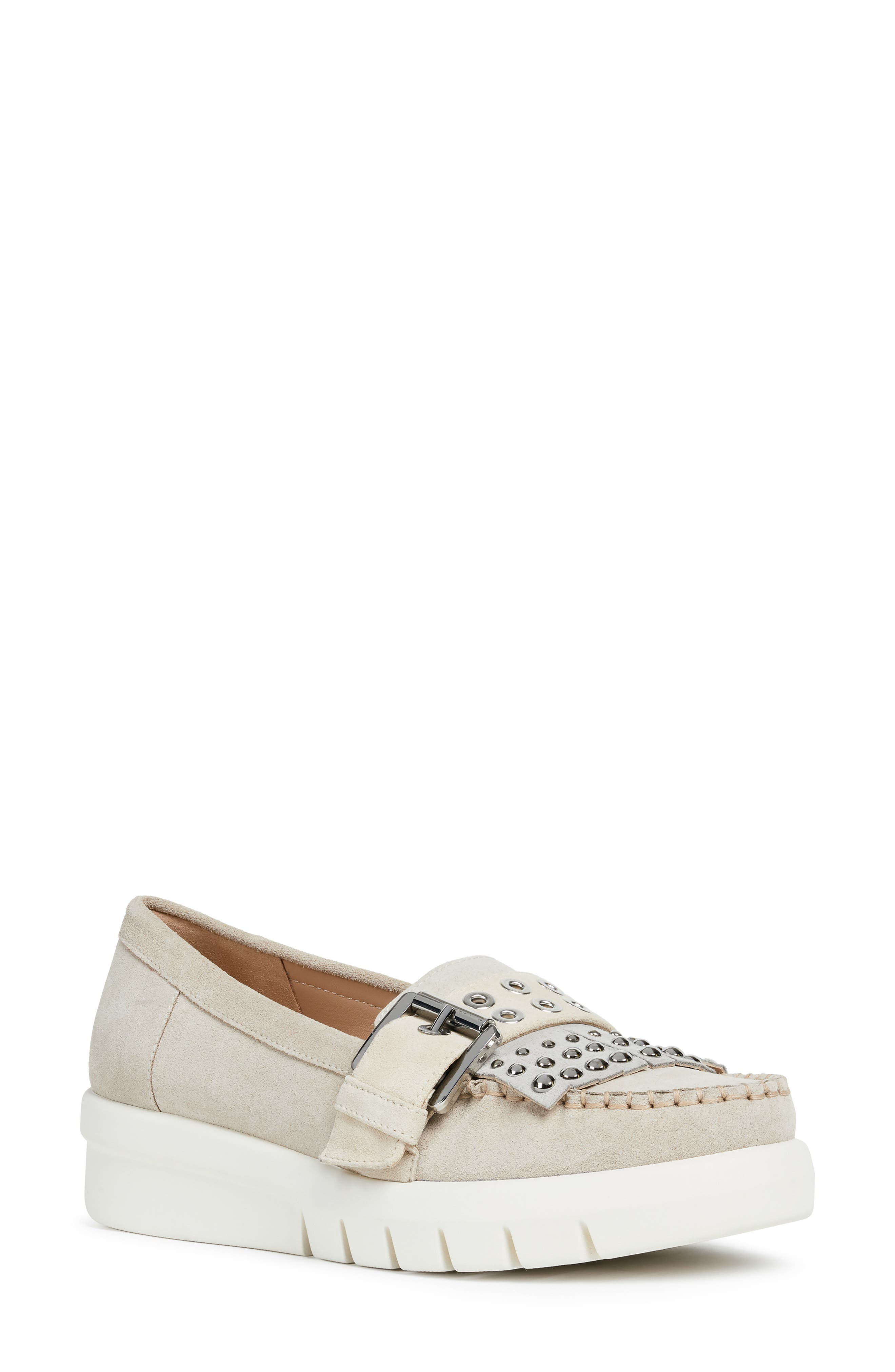 GEOX, Wimbley Studded Kiltie Loafer, Main thumbnail 1, color, LIGHT TAUPE/ GREY SUEDE