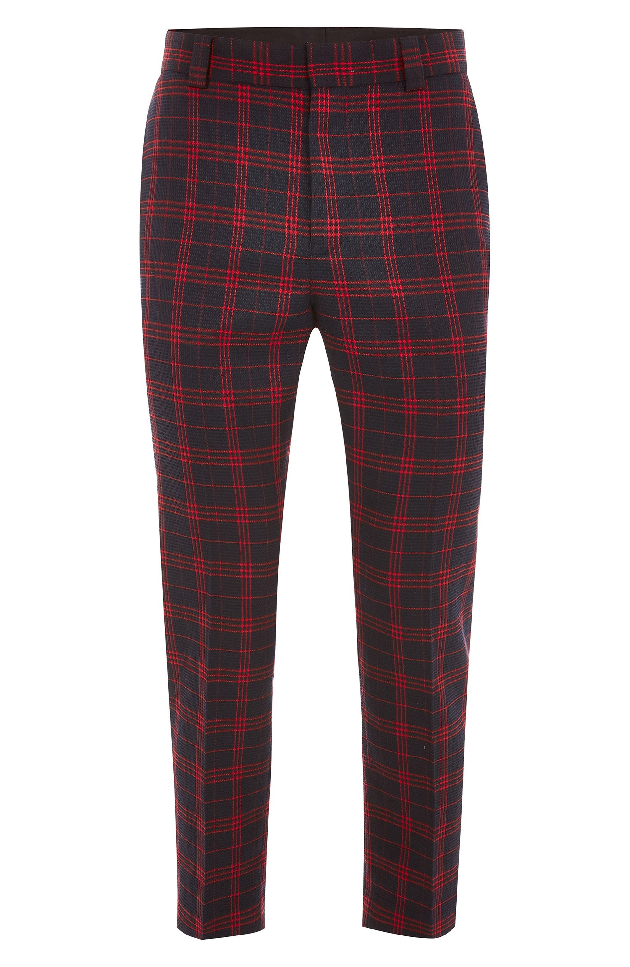 TOPMAN, Plaid Tapered Trousers, Alternate thumbnail 4, color, 401