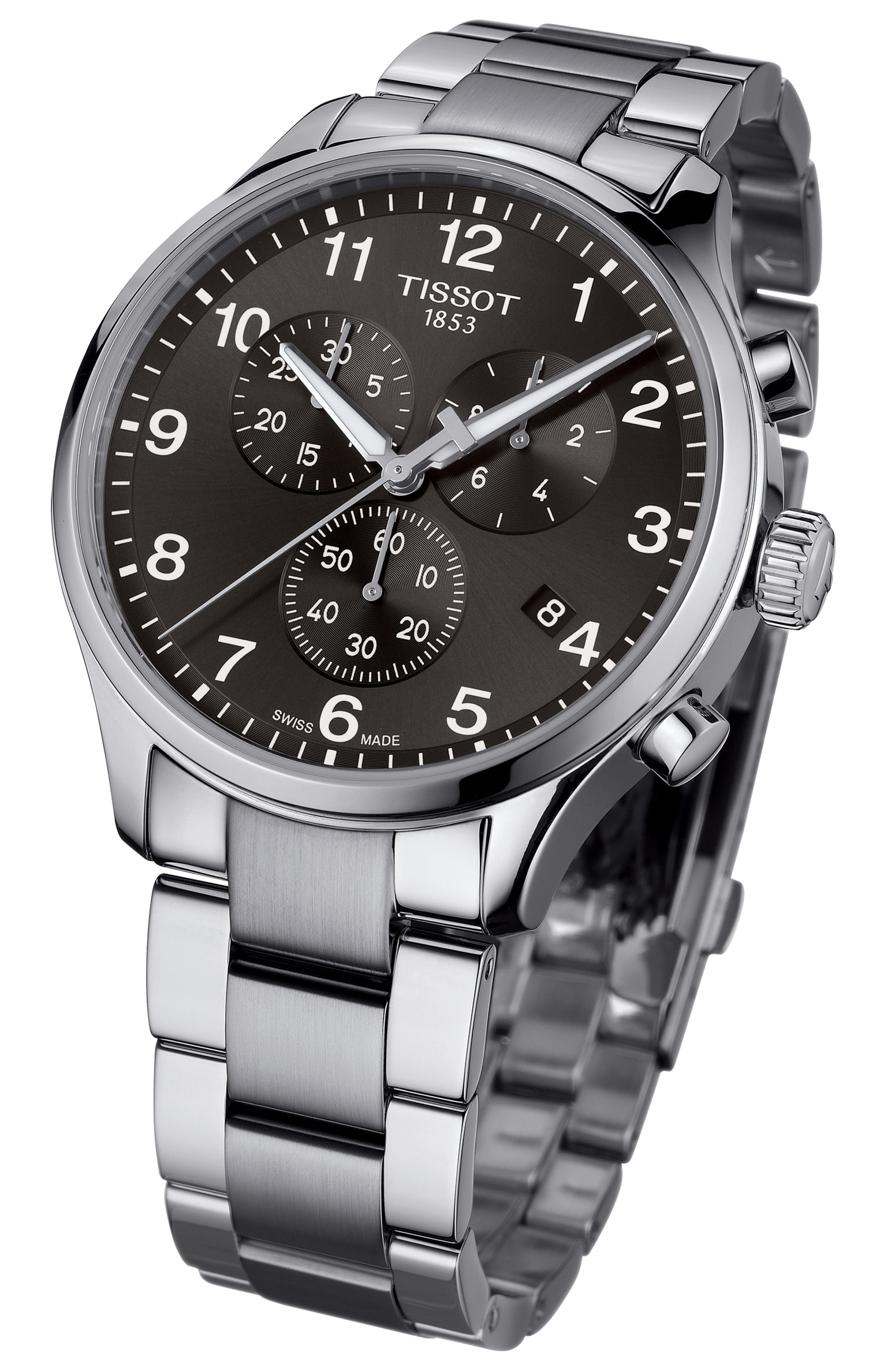 TISSOT, Chrono XL Collection Chronograph Bracelet Watch, 45mm, Alternate thumbnail 2, color, SILVER/ BLACK/ SILVER