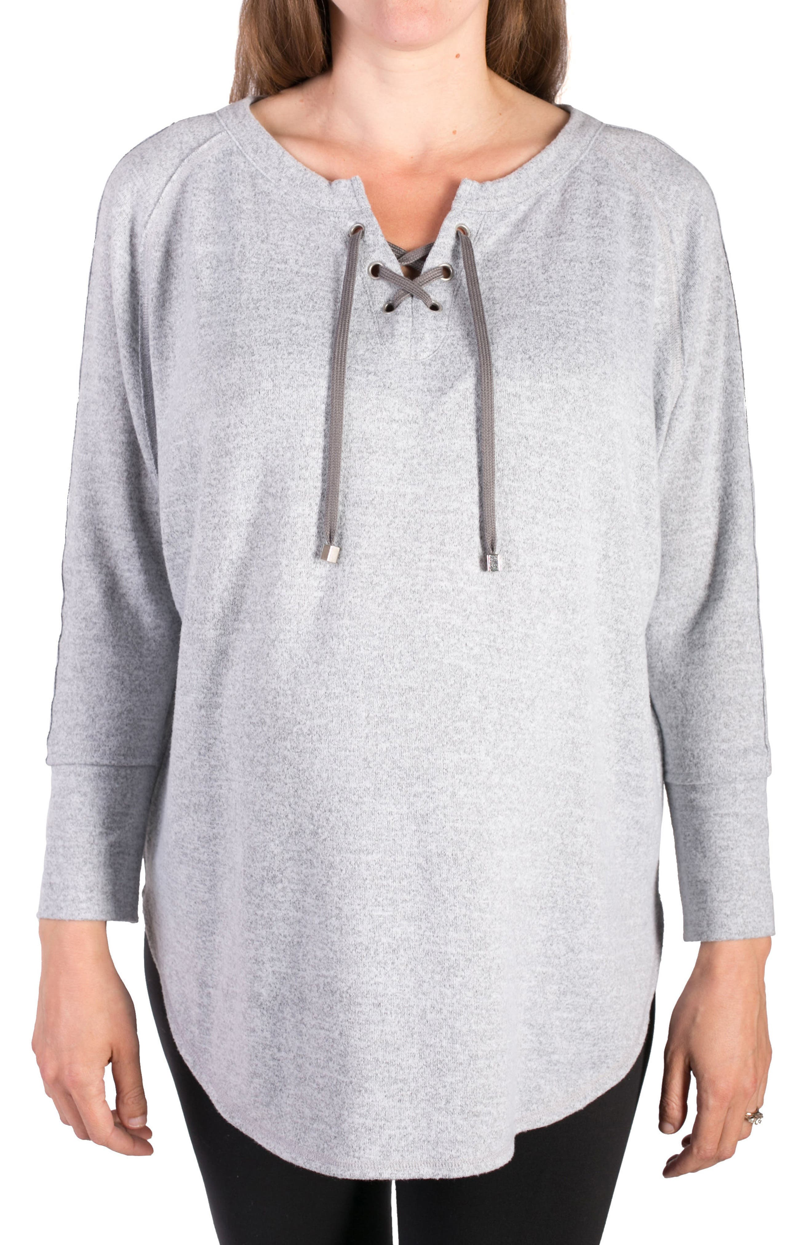INGRID & ISABEL<SUP>®</SUP>, Cocoon Lace-Up Maternity Top, Main thumbnail 1, color, LIGHT HEATHER GREY