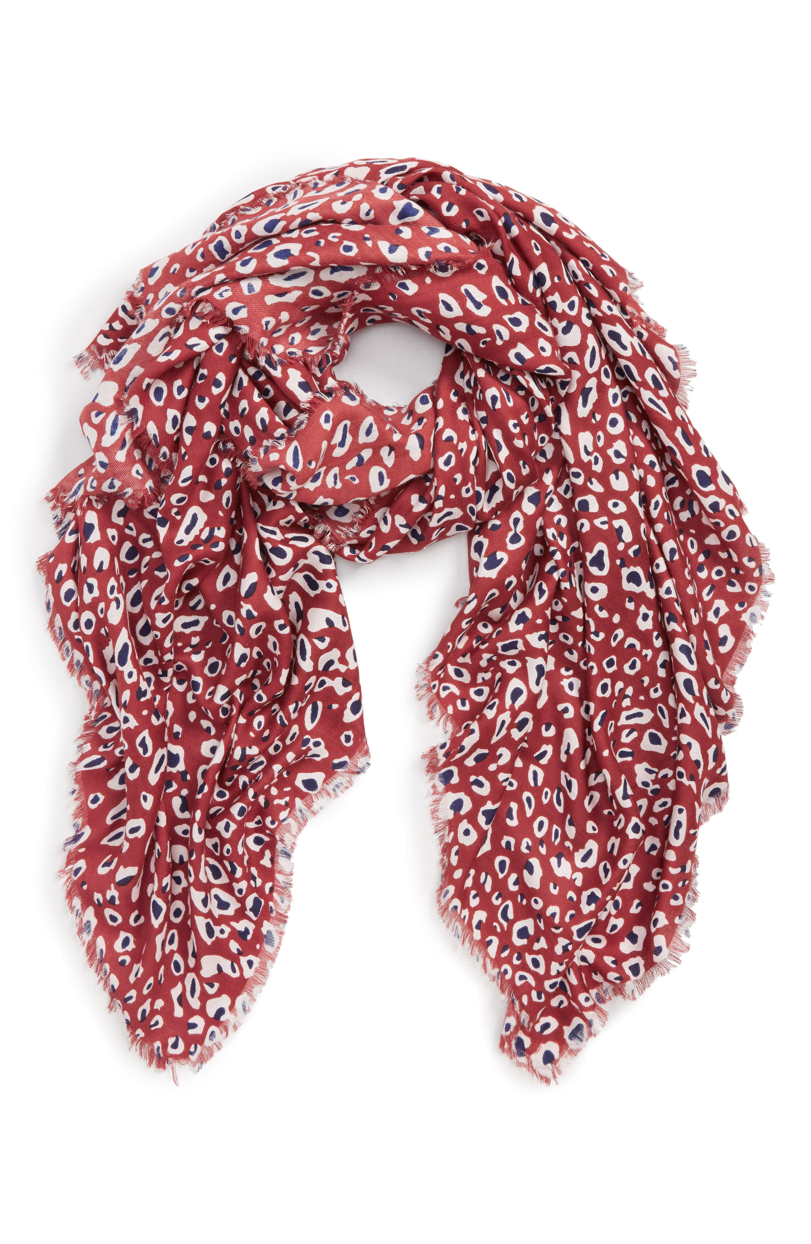 SOLE SOCIETY, Leopard Print Scarf, Main thumbnail 1, color, 600