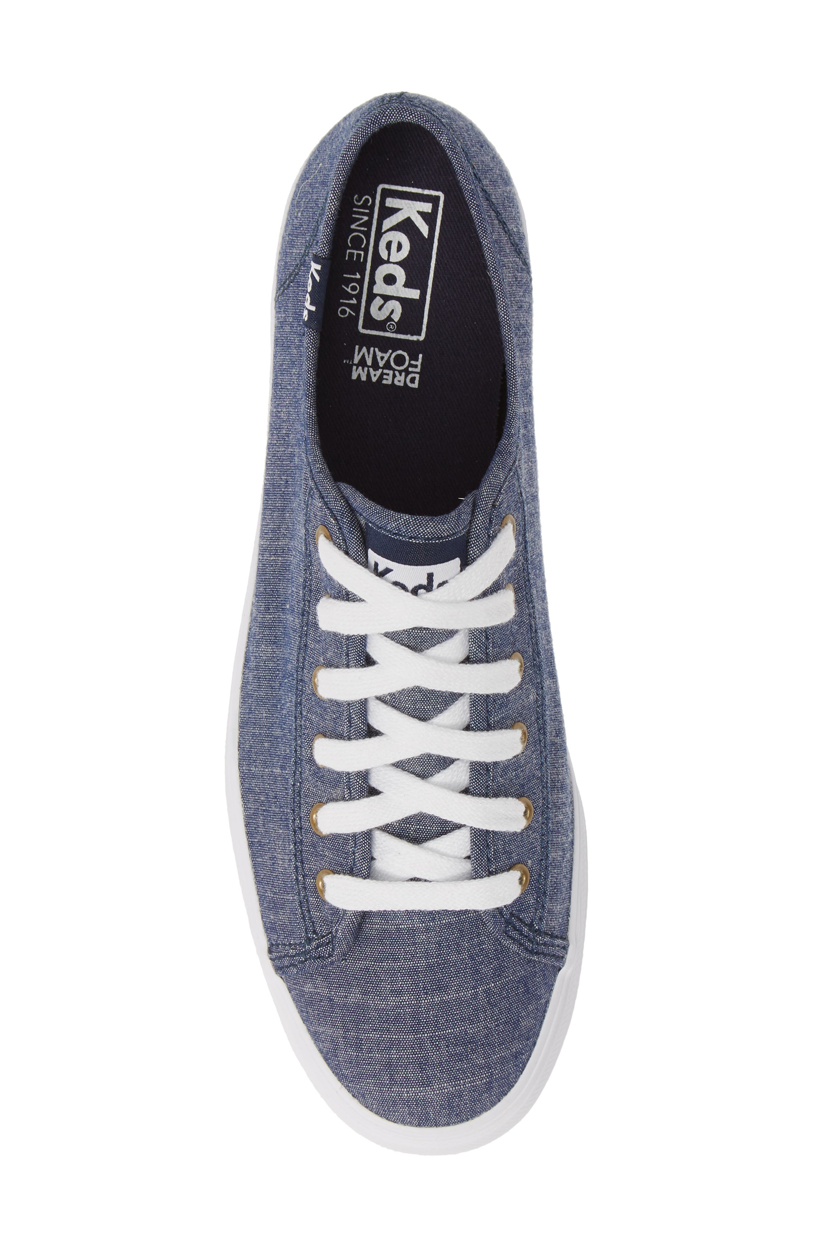 KEDS<SUP>®</SUP>, Triple Kick Platform Chambray Sneaker, Alternate thumbnail 5, color, BLUE