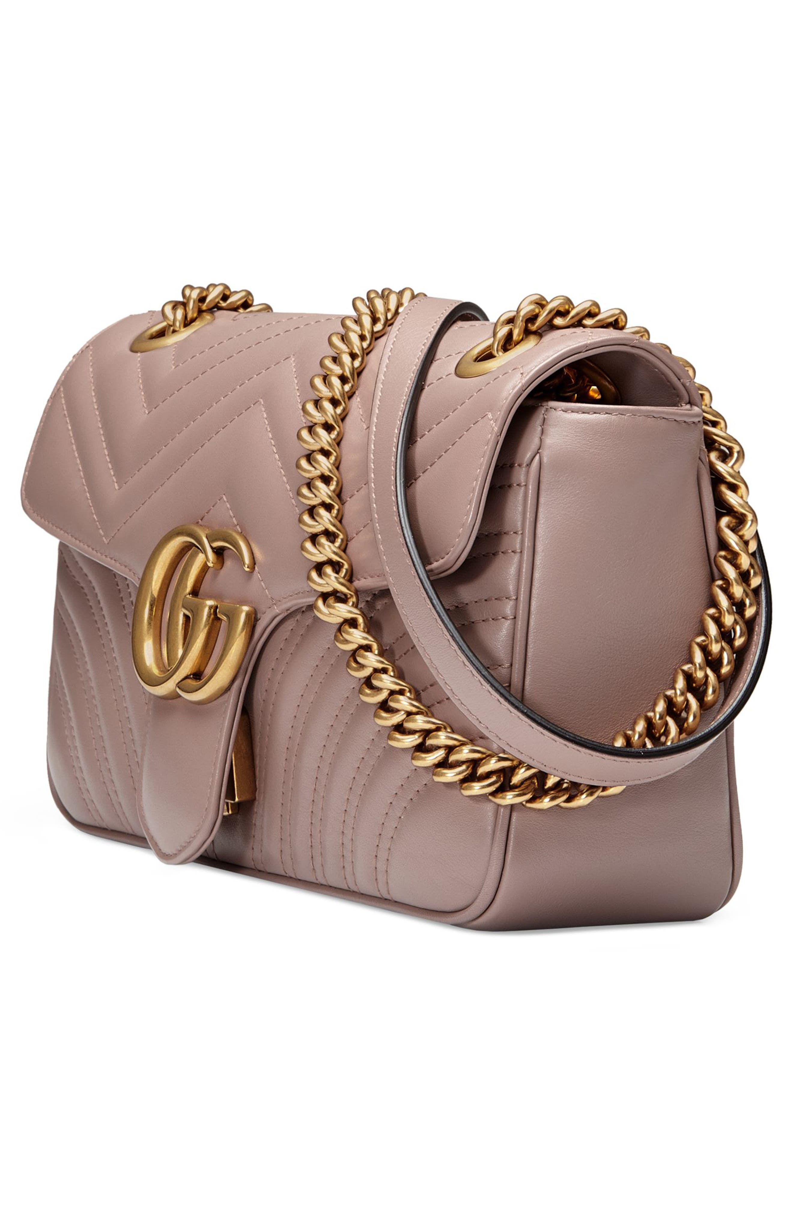 GUCCI, Small GG Marmont 2.0 Matelassé Leather Shoulder Bag, Alternate thumbnail 4, color, PORCELAIN ROSE/ PORCELAIN ROSE