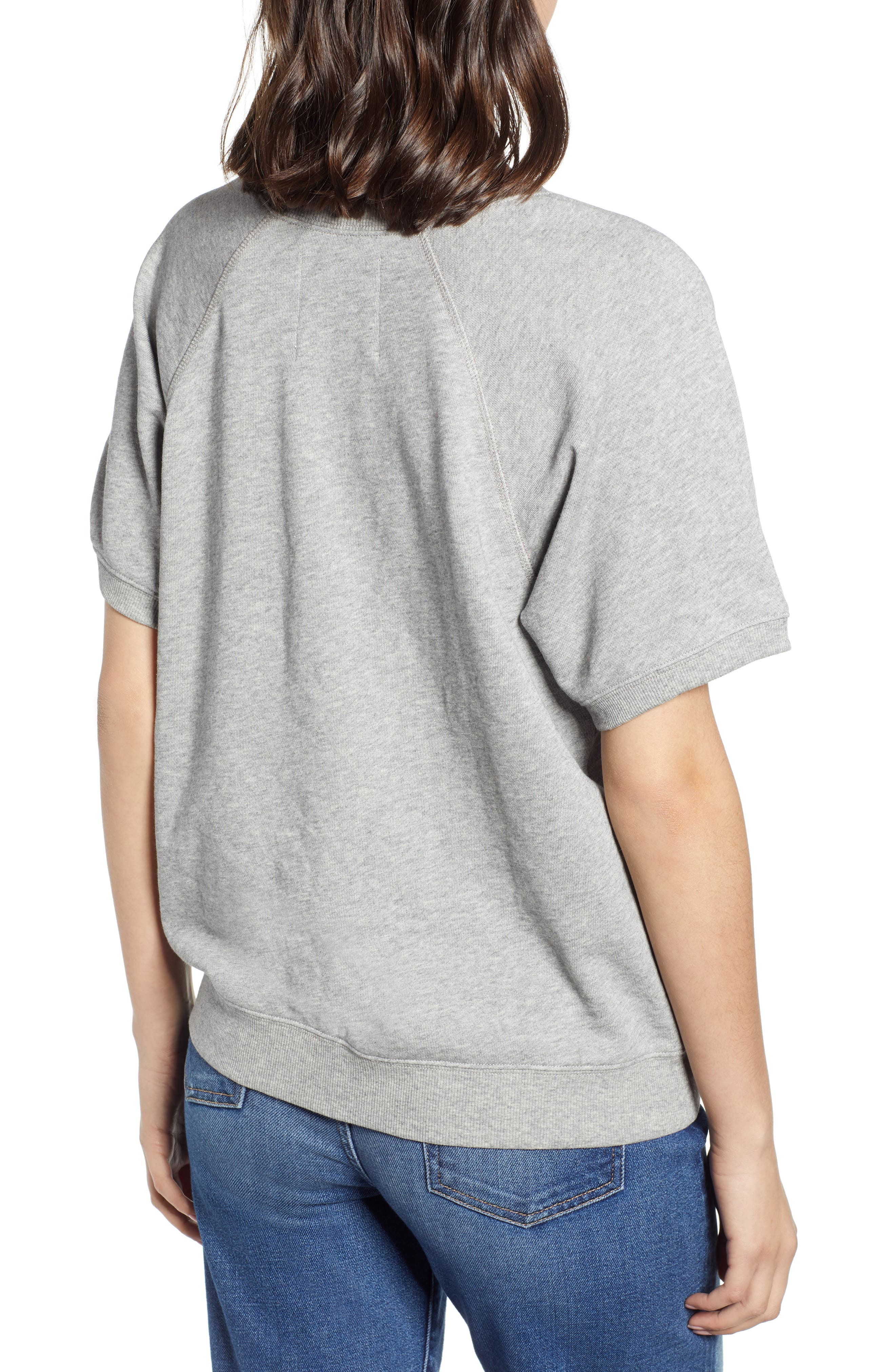 BAN.DO, Be Nice Flocked Short Sleeve Cotton Sweatshirt, Alternate thumbnail 2, color, GREY