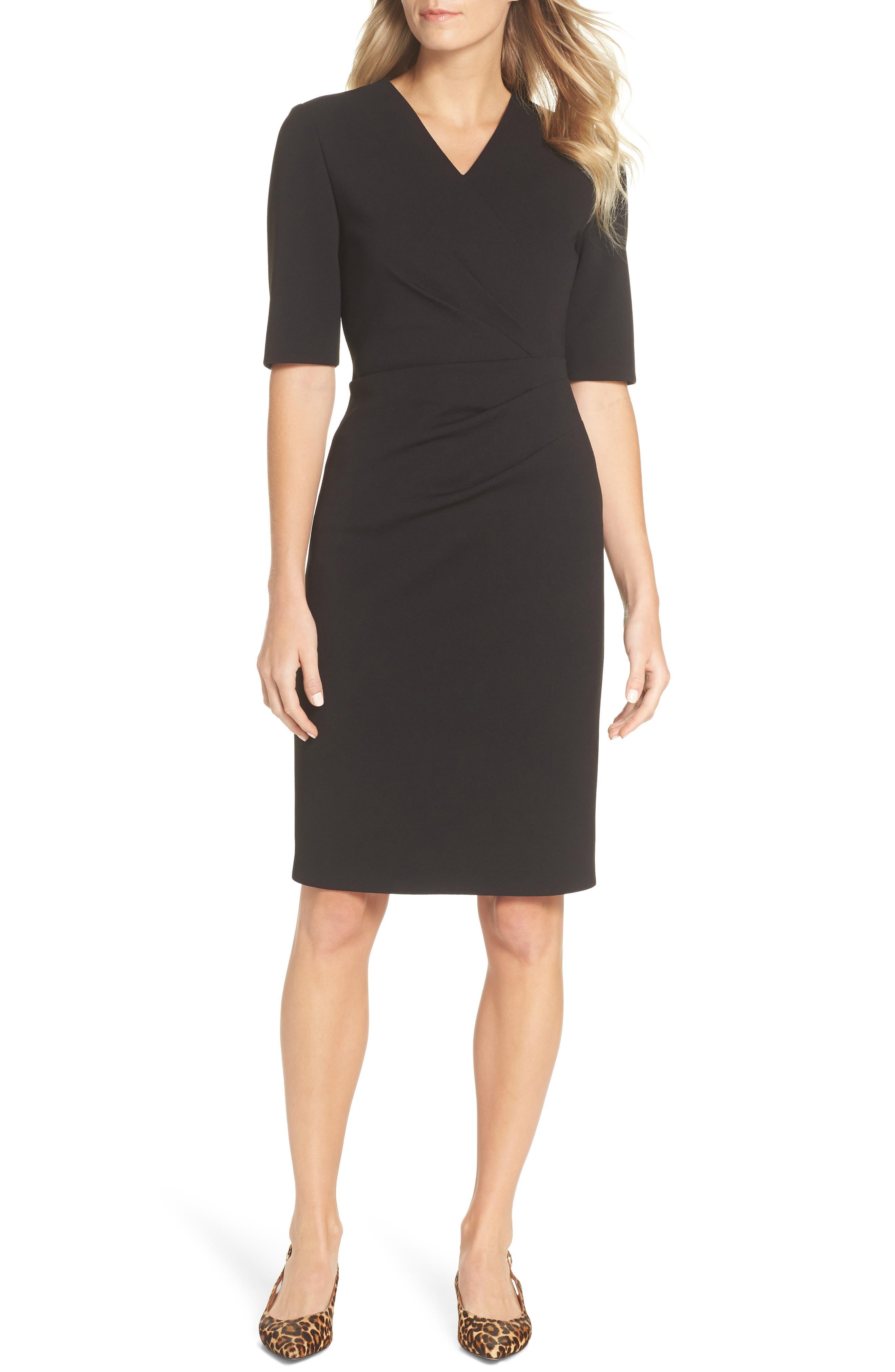 TAHARI, Scuba Crepe Sheath Dress, Main thumbnail 1, color, BLACK