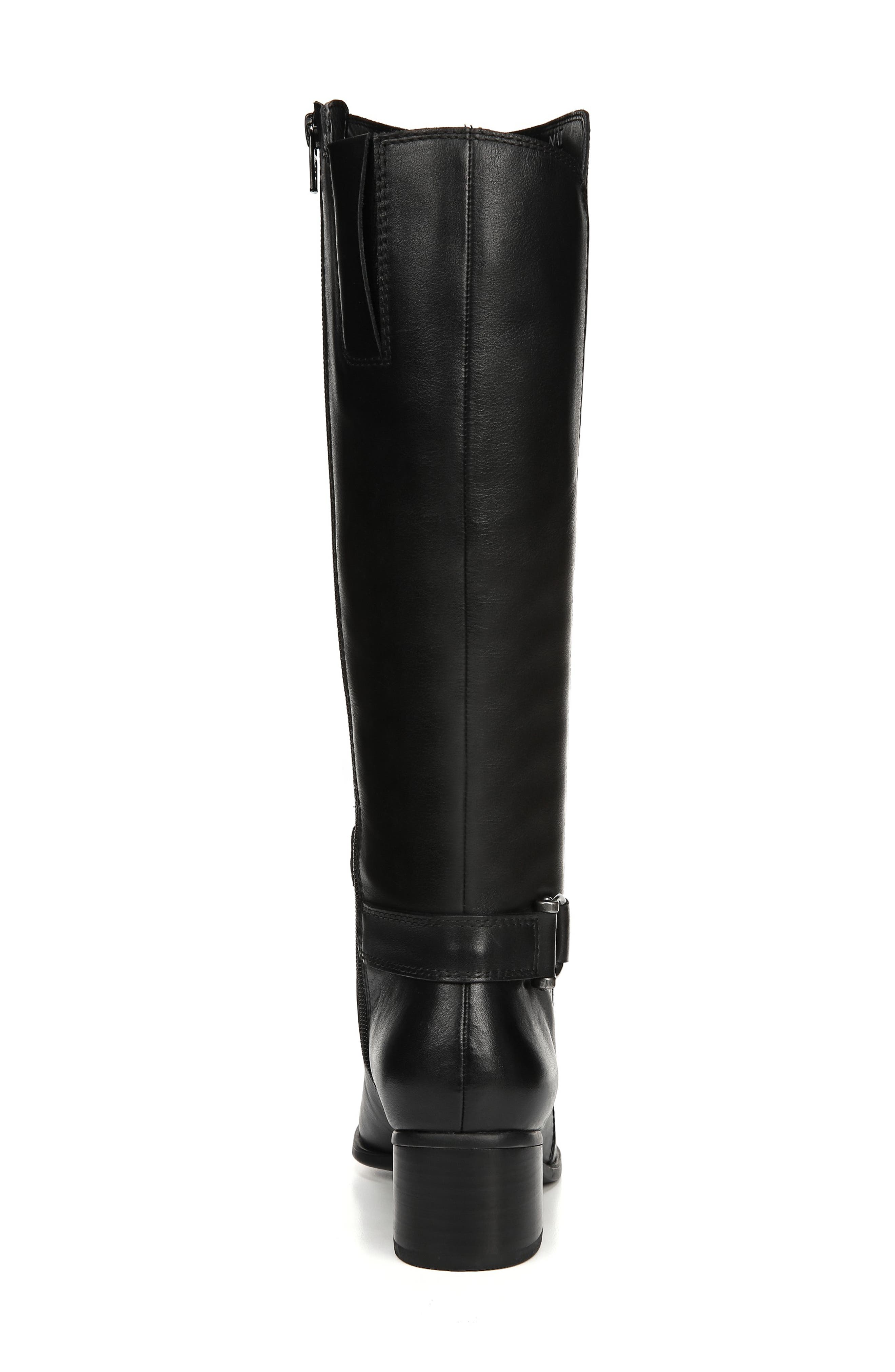 NATURALIZER, Dane Knee High Riding Boot, Alternate thumbnail 7, color, BLACK LEATHER