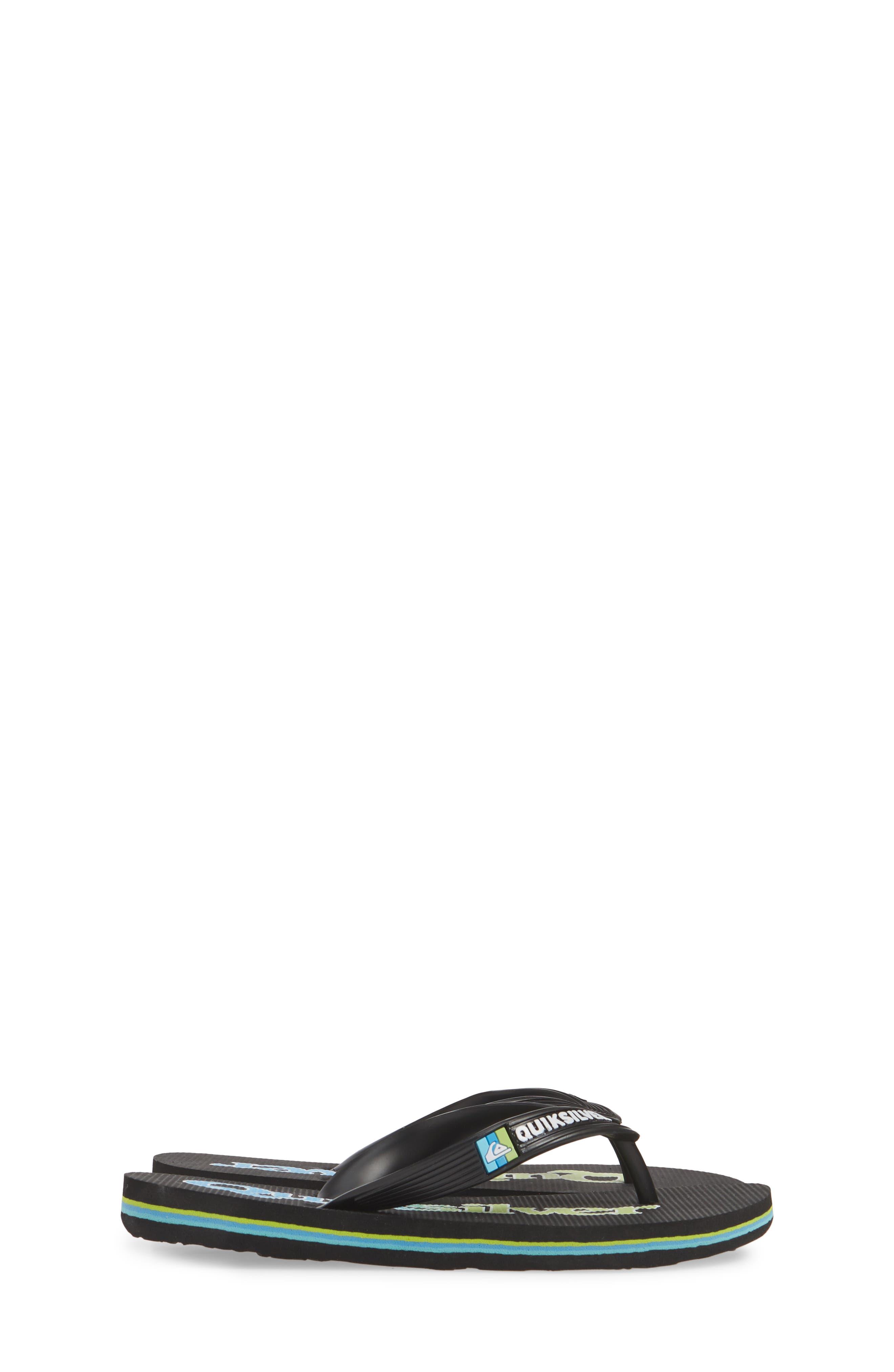 QUIKSILVER, Molokai Wordmark Flip Flop, Alternate thumbnail 4, color, BLACK/ GREEN/ BLUE