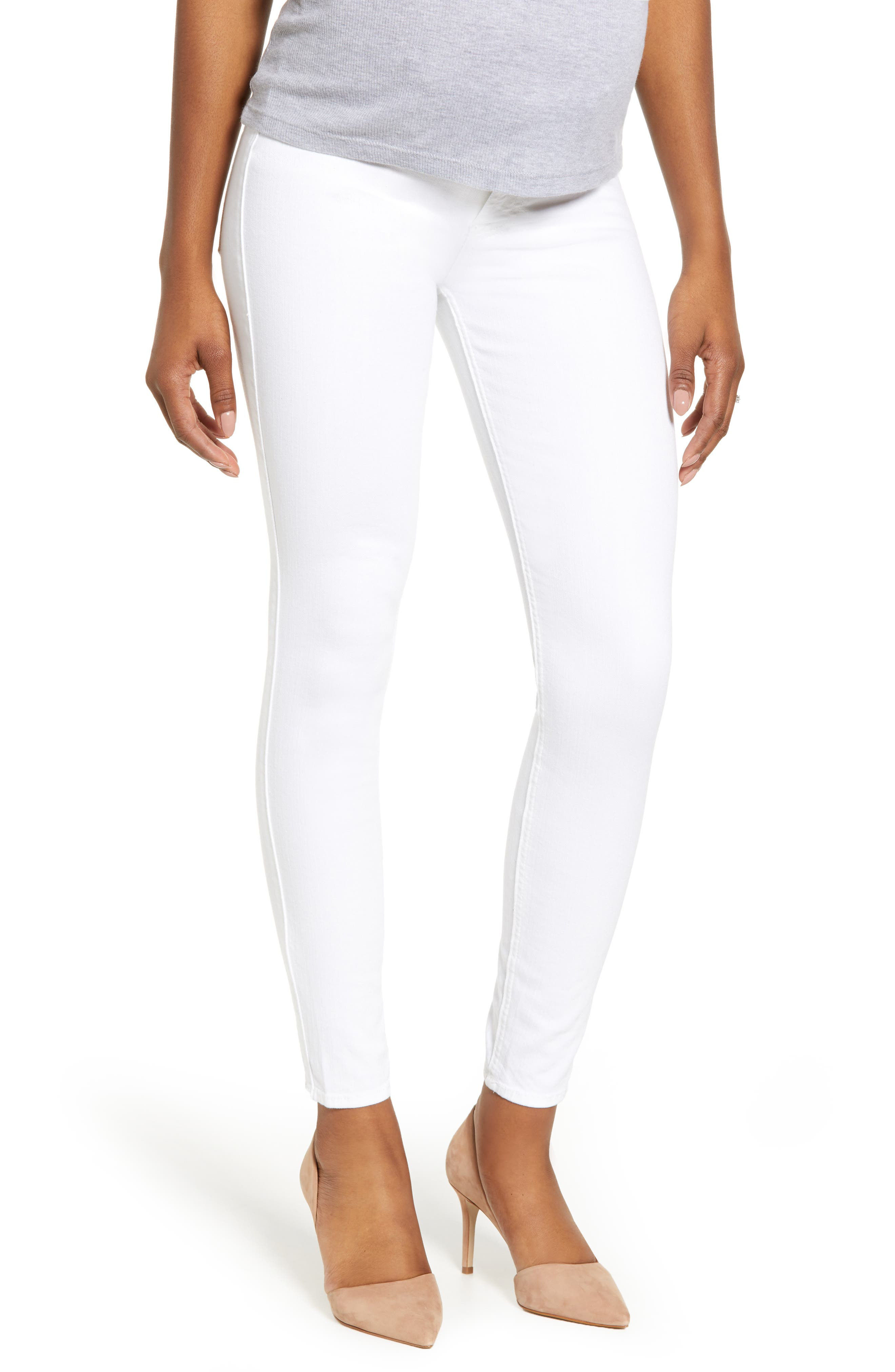 7 FOR ALL MANKIND<SUP>®</SUP>, The Ankle Skinny Maternity Jeans, Main thumbnail 1, color, CLEAN WHITE