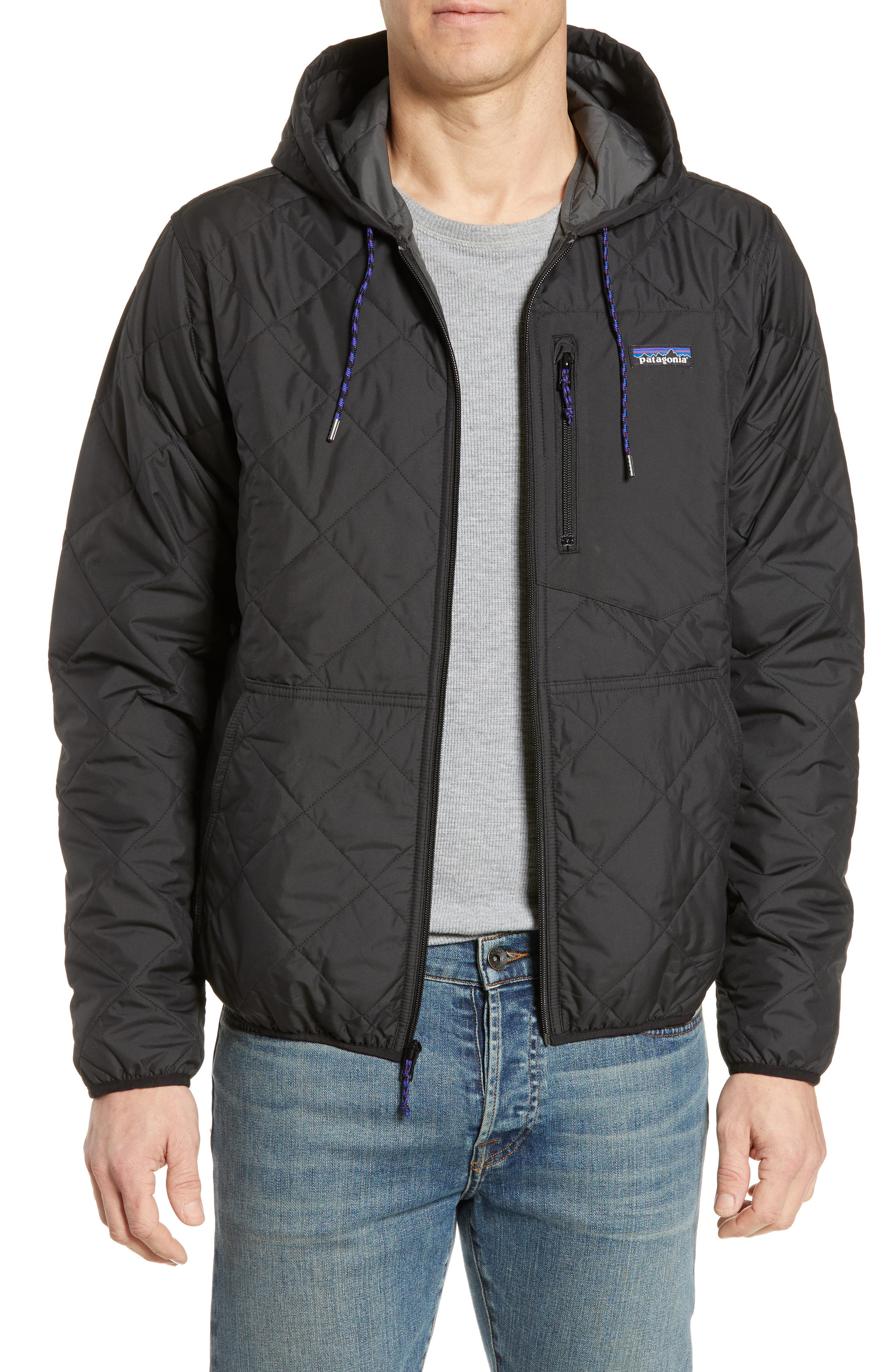 PATAGONIA Diamond Quilt Ripstop Hooded Jacket, Main, color, 001
