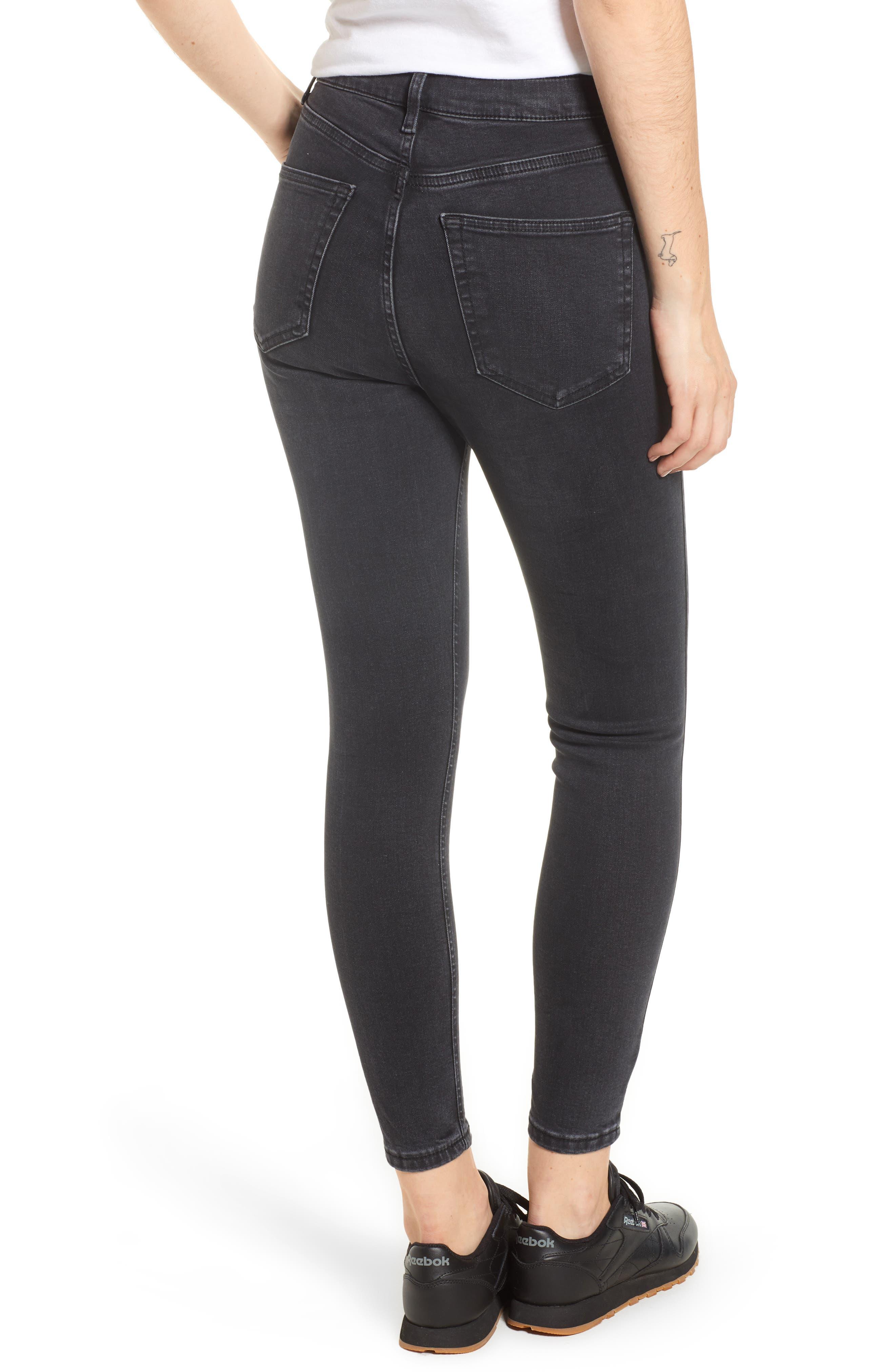 TOPSHOP, Jamie Jeans, Alternate thumbnail 2, color, WASHED BLACK