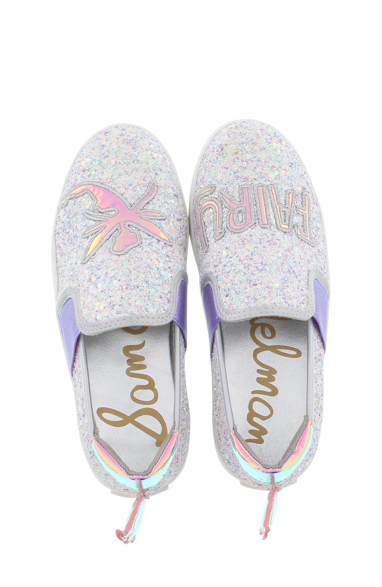 SAM EDELMAN, Blake Lina Fairy Glitter Slip-On Sneaker, Alternate thumbnail 5, color, PINK/ PURPLE