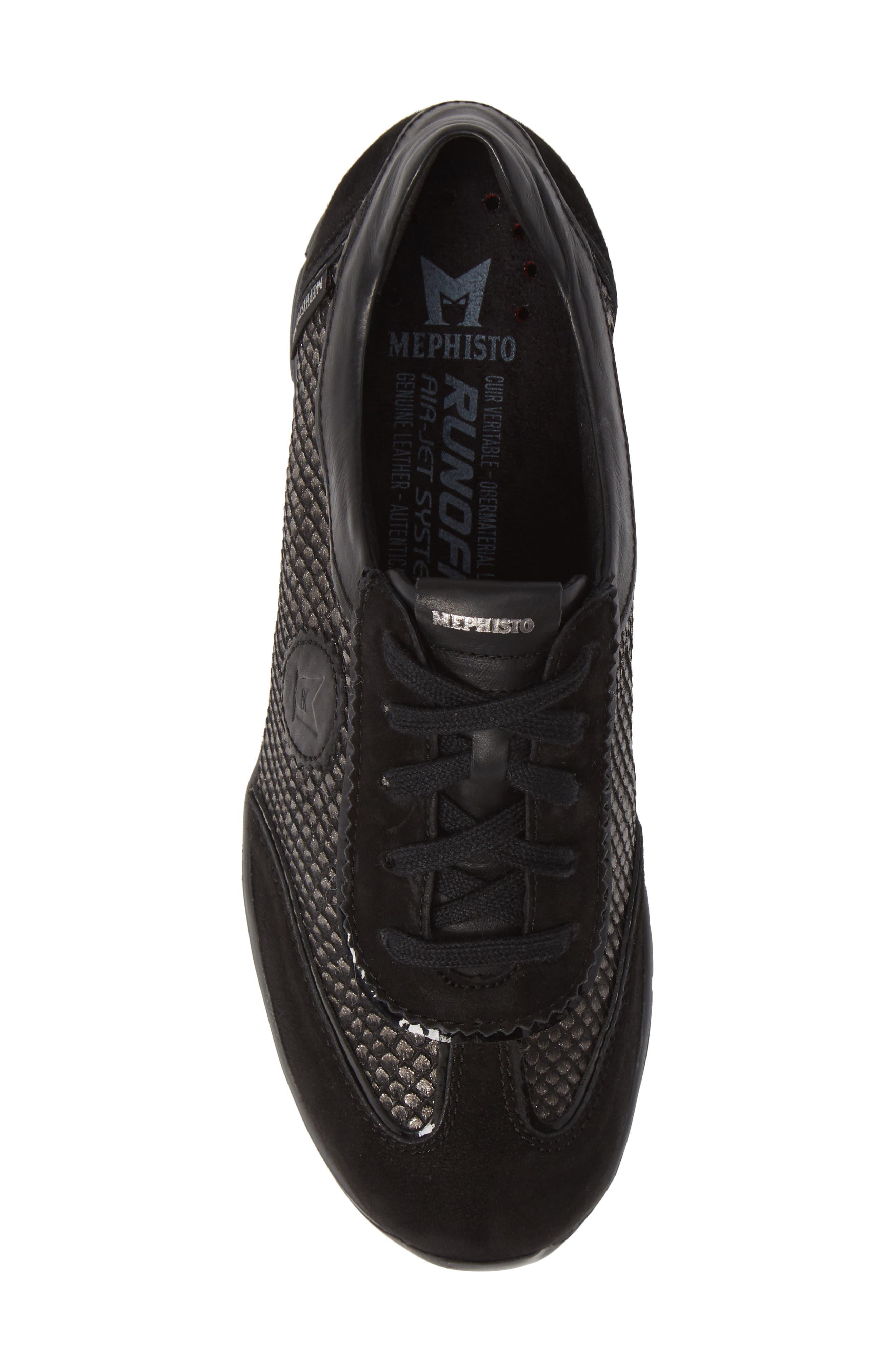 MEPHISTO, 'Yael' Soft-Air Sneaker, Alternate thumbnail 5, color, BLACK SUEDE