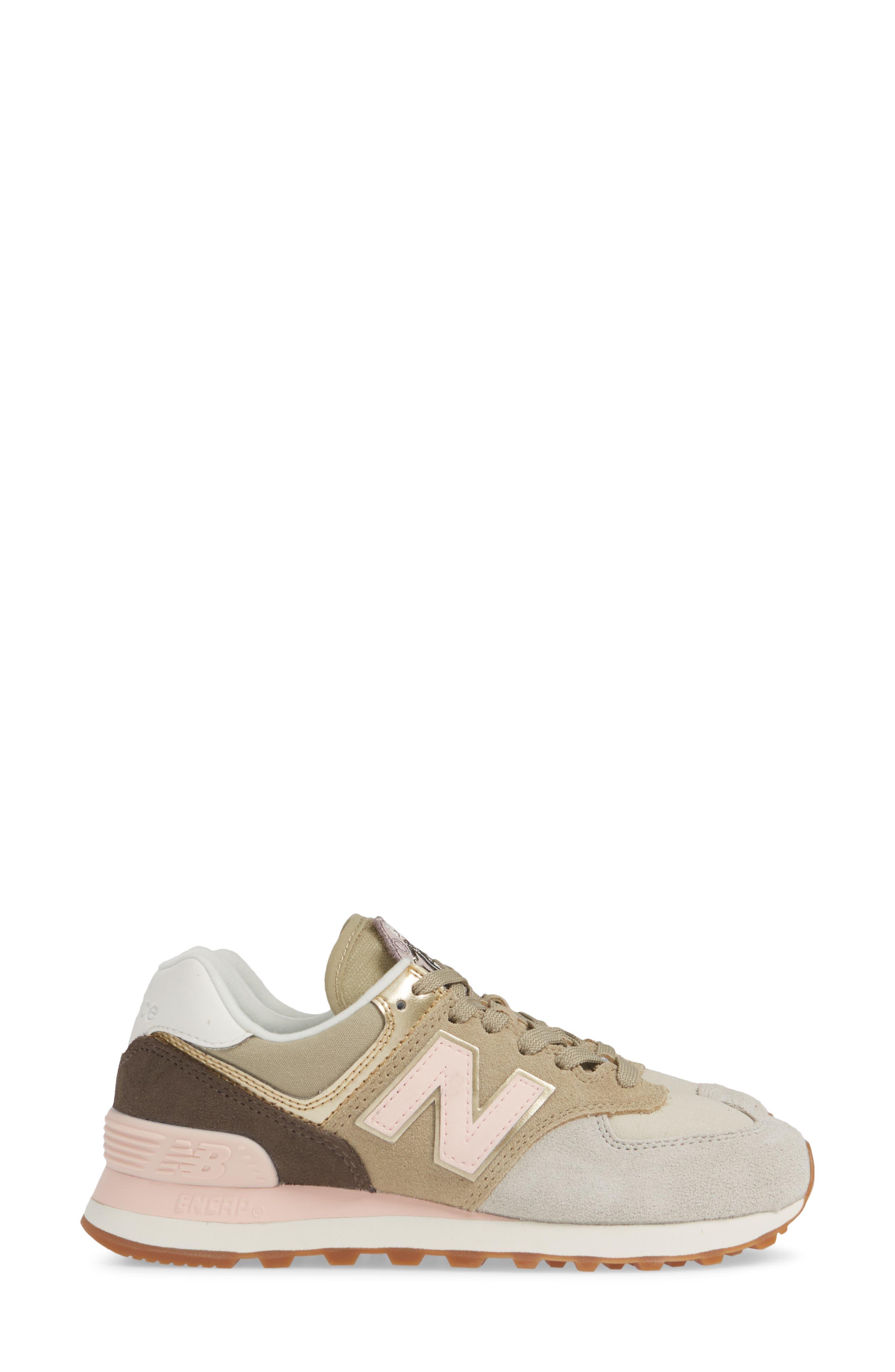 NEW BALANCE, 574 Metallic Patch Sneaker, Alternate thumbnail 3, color, LIGHT CLIFF GREY