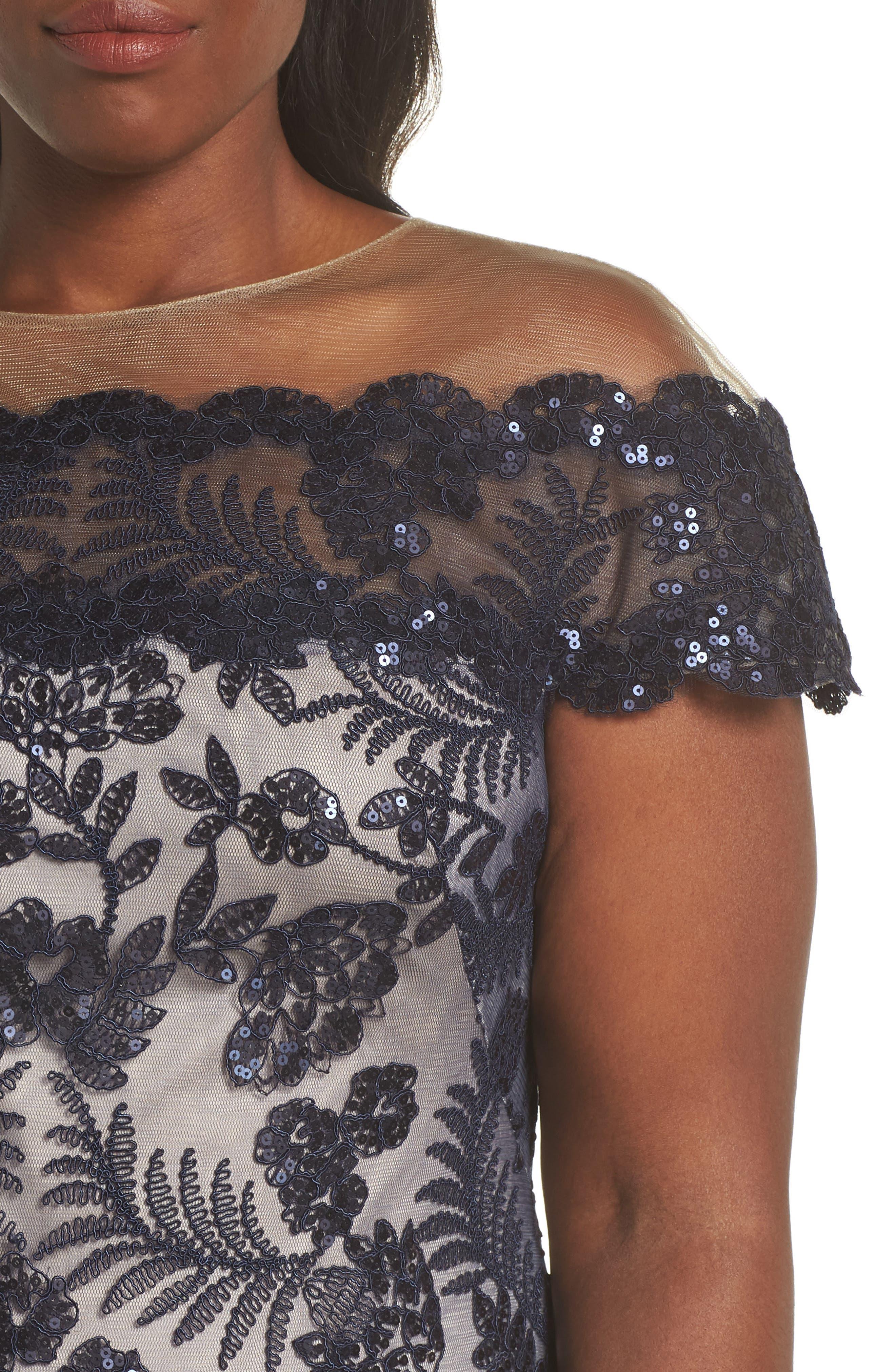 TADASHI SHOJI, Illusion Neck Sequin Lace Gown, Alternate thumbnail 11, color, 410