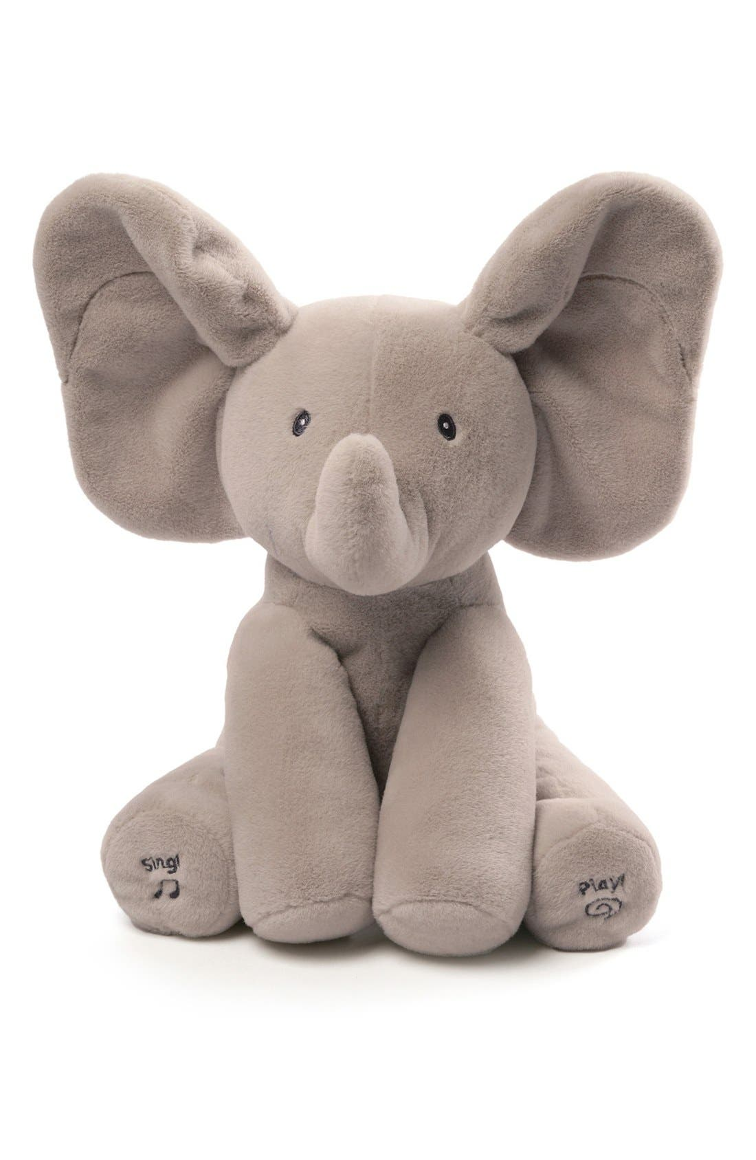 GUND, Baby Gund 'Flappy The Elephant' Musical Elephant, Main thumbnail 1, color, GREY
