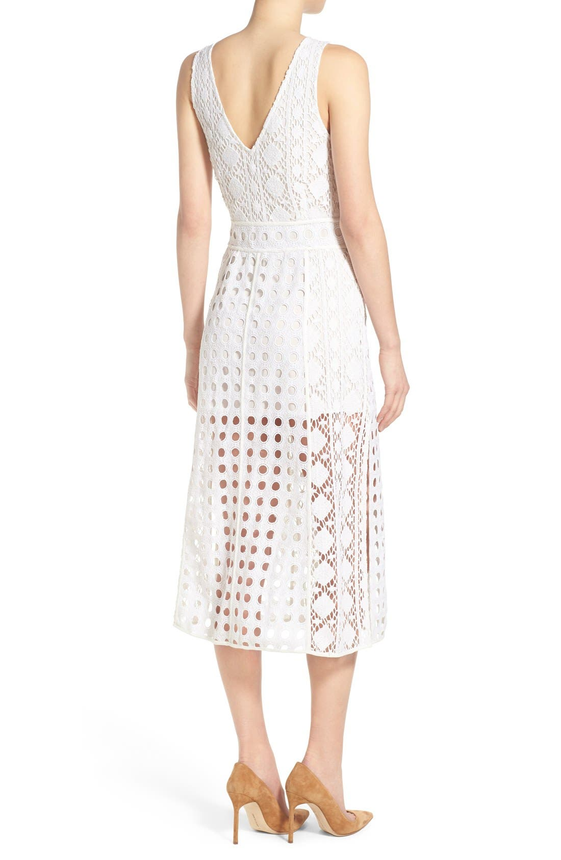 OLIVIA PALERMO + CHELSEA28, Patchwork Lace Midi Dress, Alternate thumbnail 2, color, 100