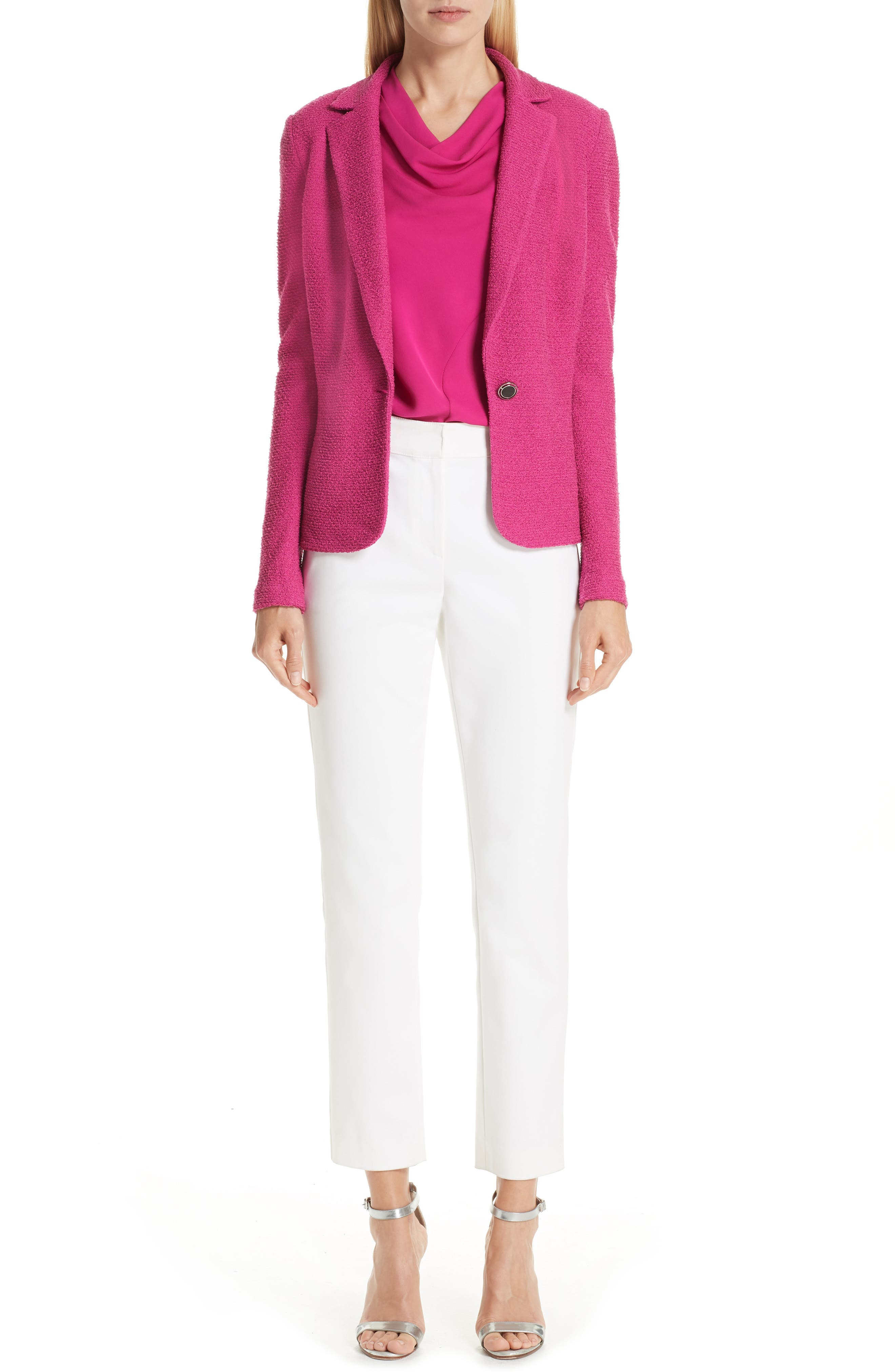 ST. JOHN COLLECTION, Refined Knit Jacket, Alternate thumbnail 8, color, CAMELLIA