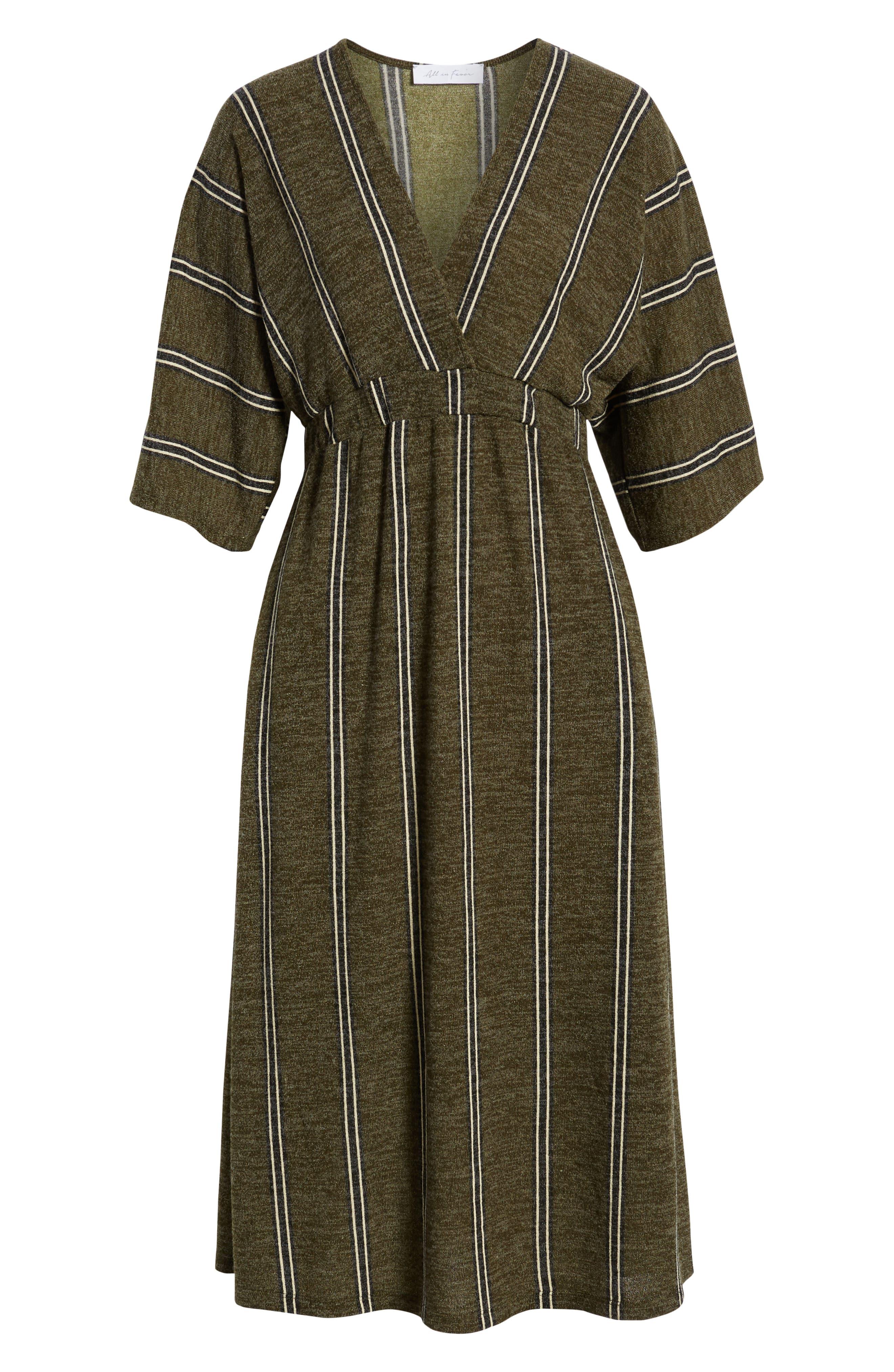 ALL IN FAVOR, Surplus Midi Dress, Alternate thumbnail 7, color, GREEN STRIPE