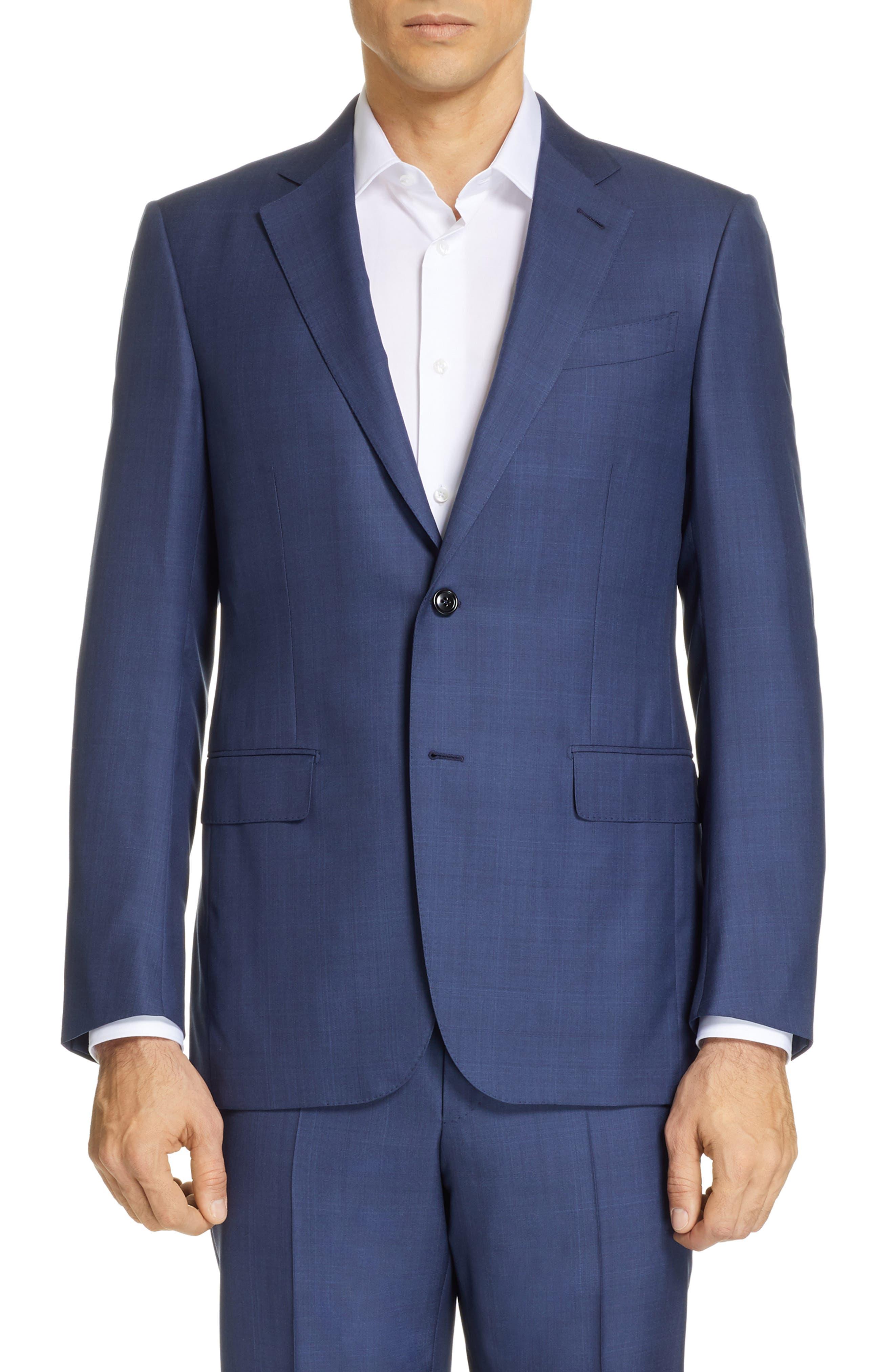 ERMENEGILDO ZEGNA, Trofeo Classic Fit Plaid Wool & Silk Suit, Alternate thumbnail 5, color, BLUE