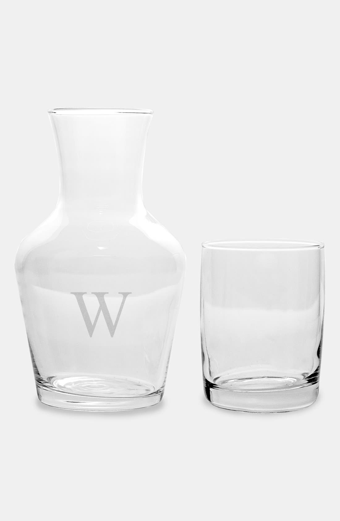 CATHY'S CONCEPTS, Monogram Bedside Water Carafe Set, Alternate thumbnail 2, color, F