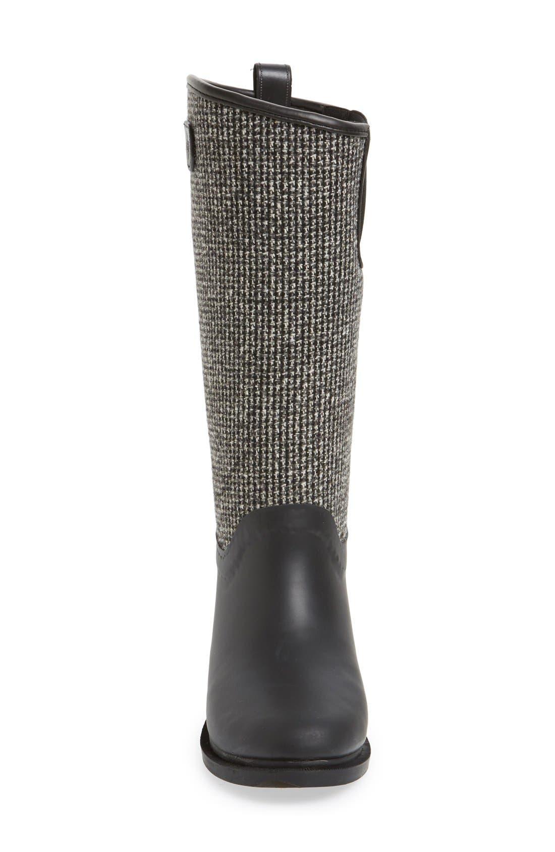 DÄV, Cardiff Tweed Knee High Waterproof Rain Boot, Alternate thumbnail 3, color, BLACK