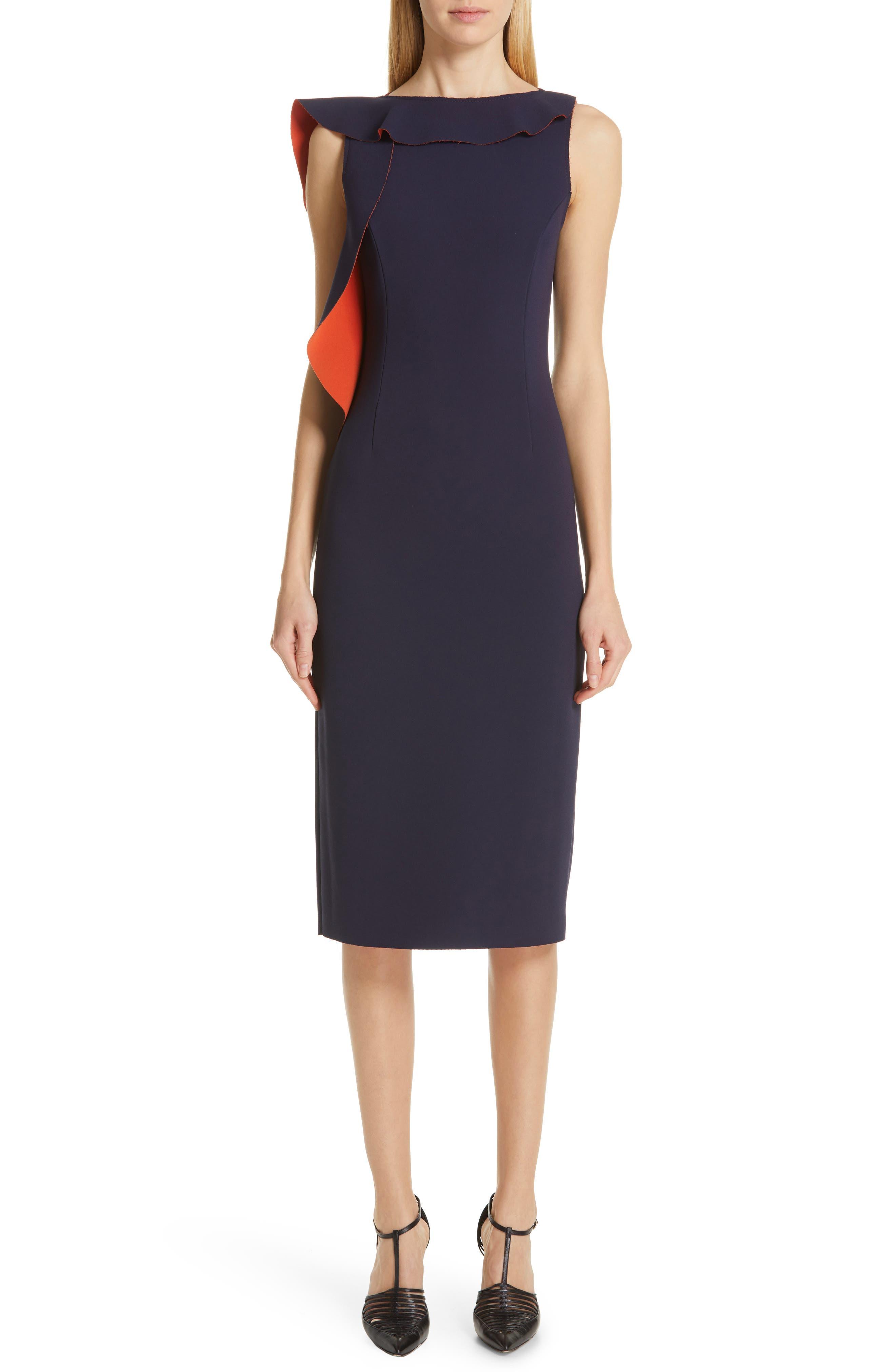 Jason Wu Collection Asymmetrical Ruffle Sheath Dress, Blue