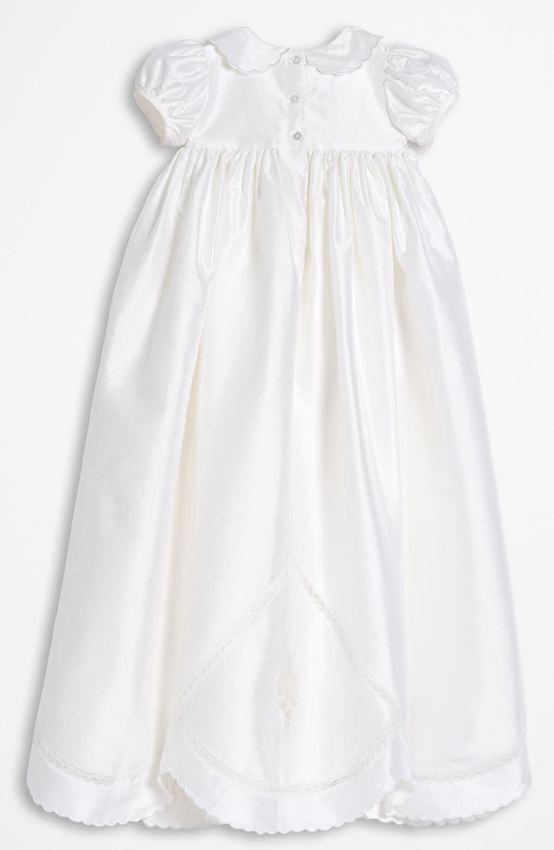 LITTLE THINGS MEAN A LOT, Dupioni Silk Christening Gown, Alternate thumbnail 2, color, WHITE