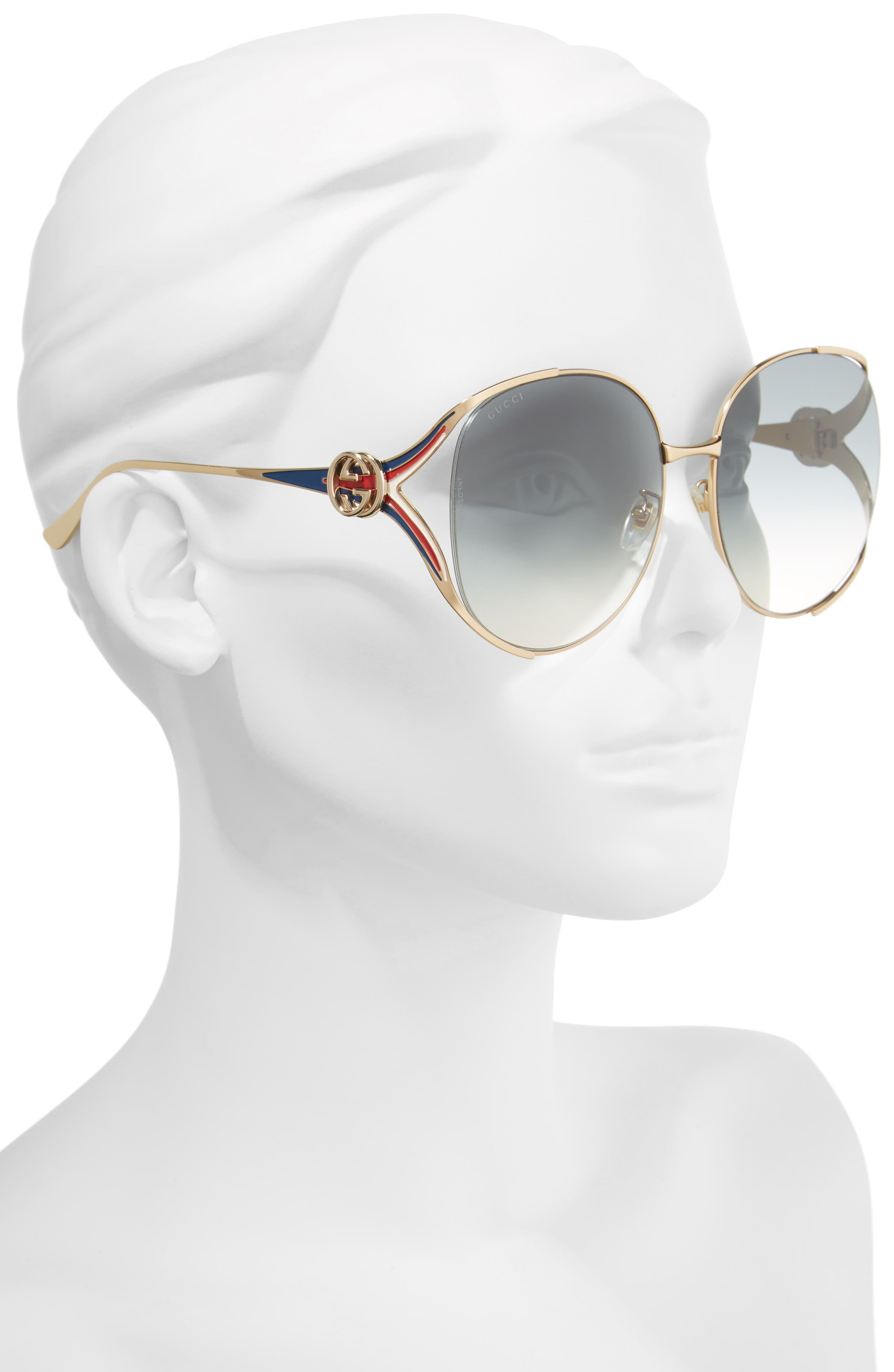 GUCCI, 63mm Open Temple Sunglasses, Alternate thumbnail 2, color, GOLD/ GREY