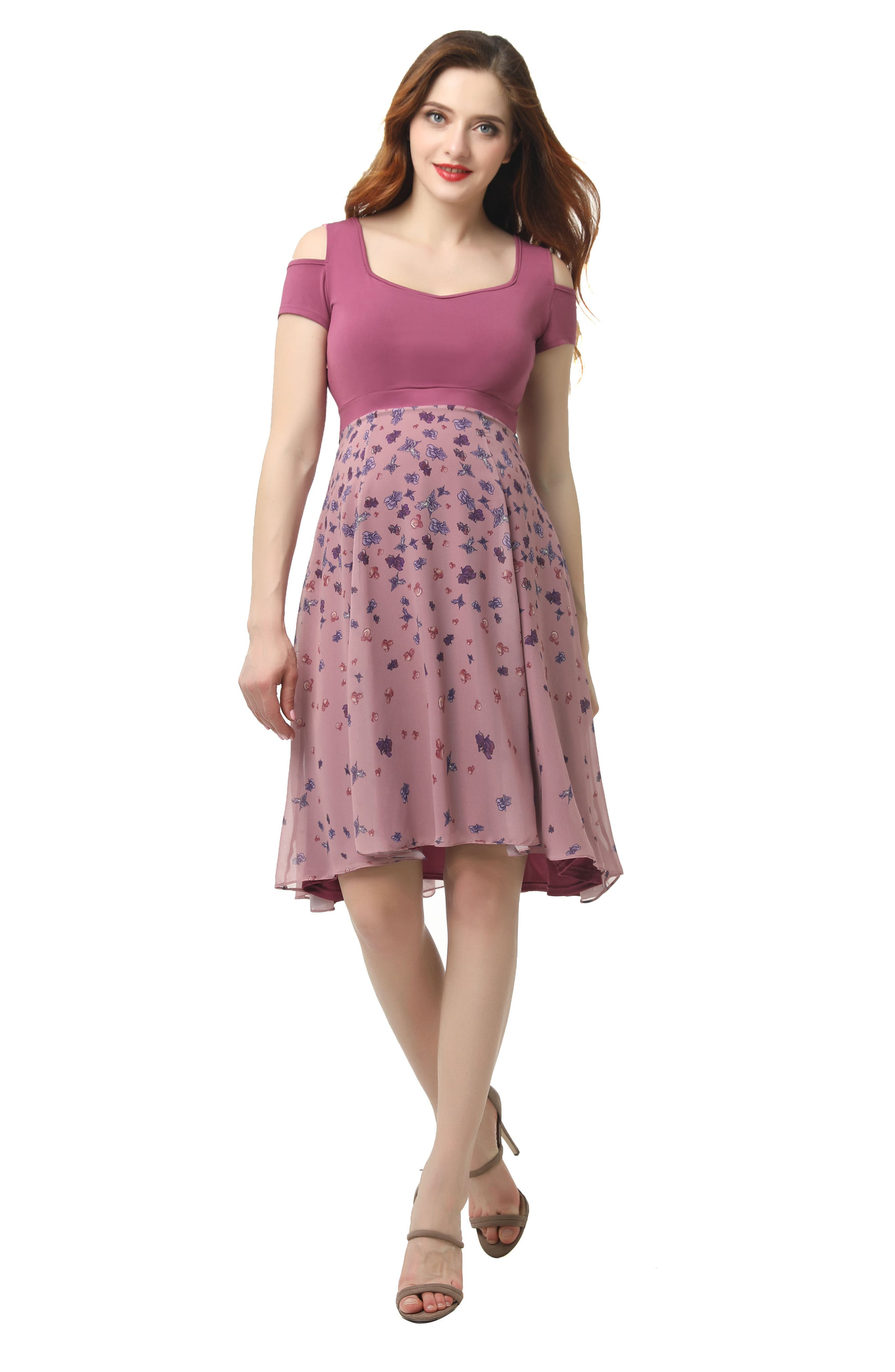 KIMI AND KAI, Erica Cold Shoulder Maternity Dress, Alternate thumbnail 4, color, ROSE PINK