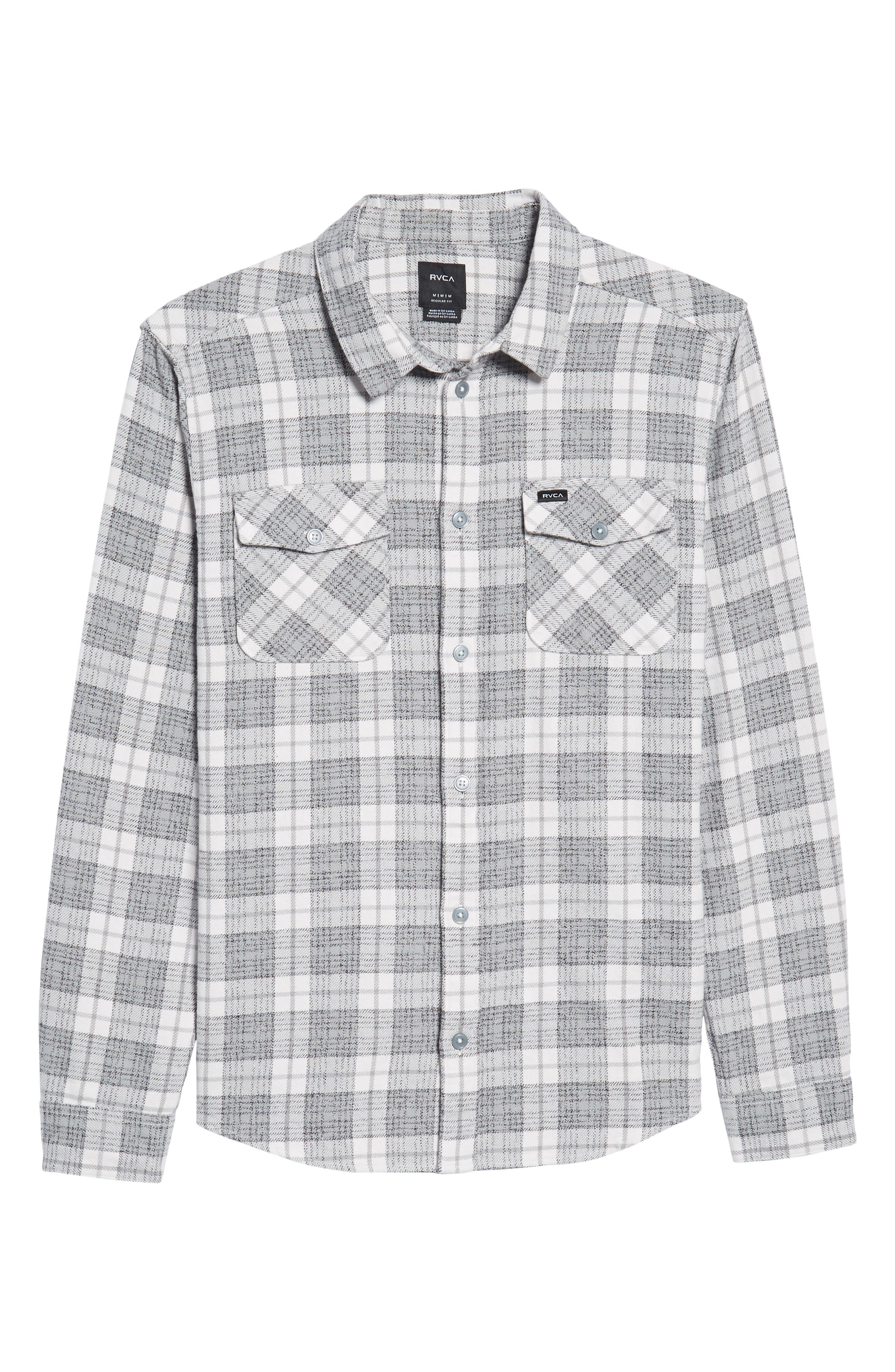 RVCA, 'That'll Work' Trim Fit Plaid Flannel Shirt, Alternate thumbnail 6, color, ANTIQUE WHITE