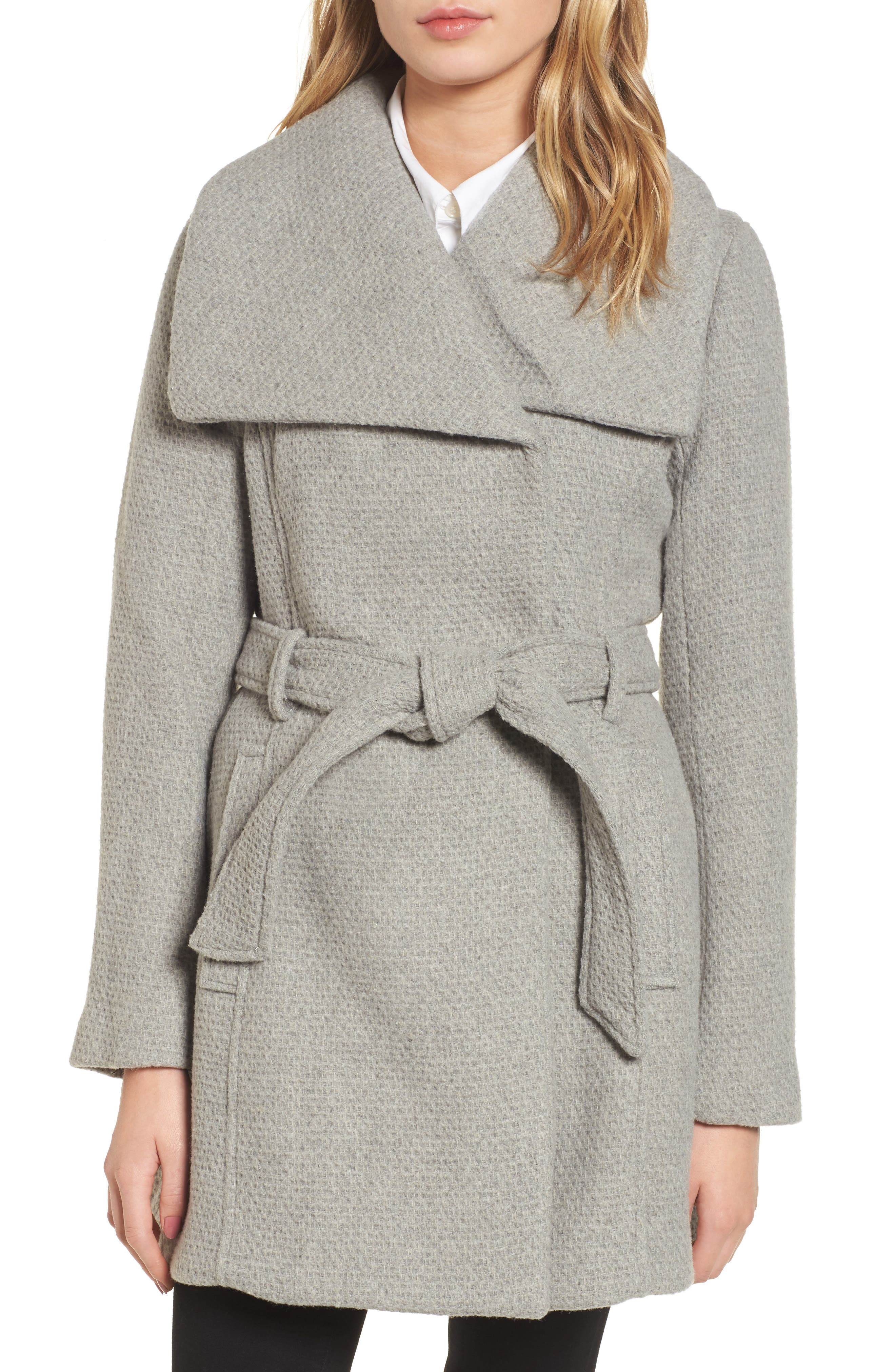 STEVE MADDEN, Belted Waffle Woven Coat, Main thumbnail 1, color, 038