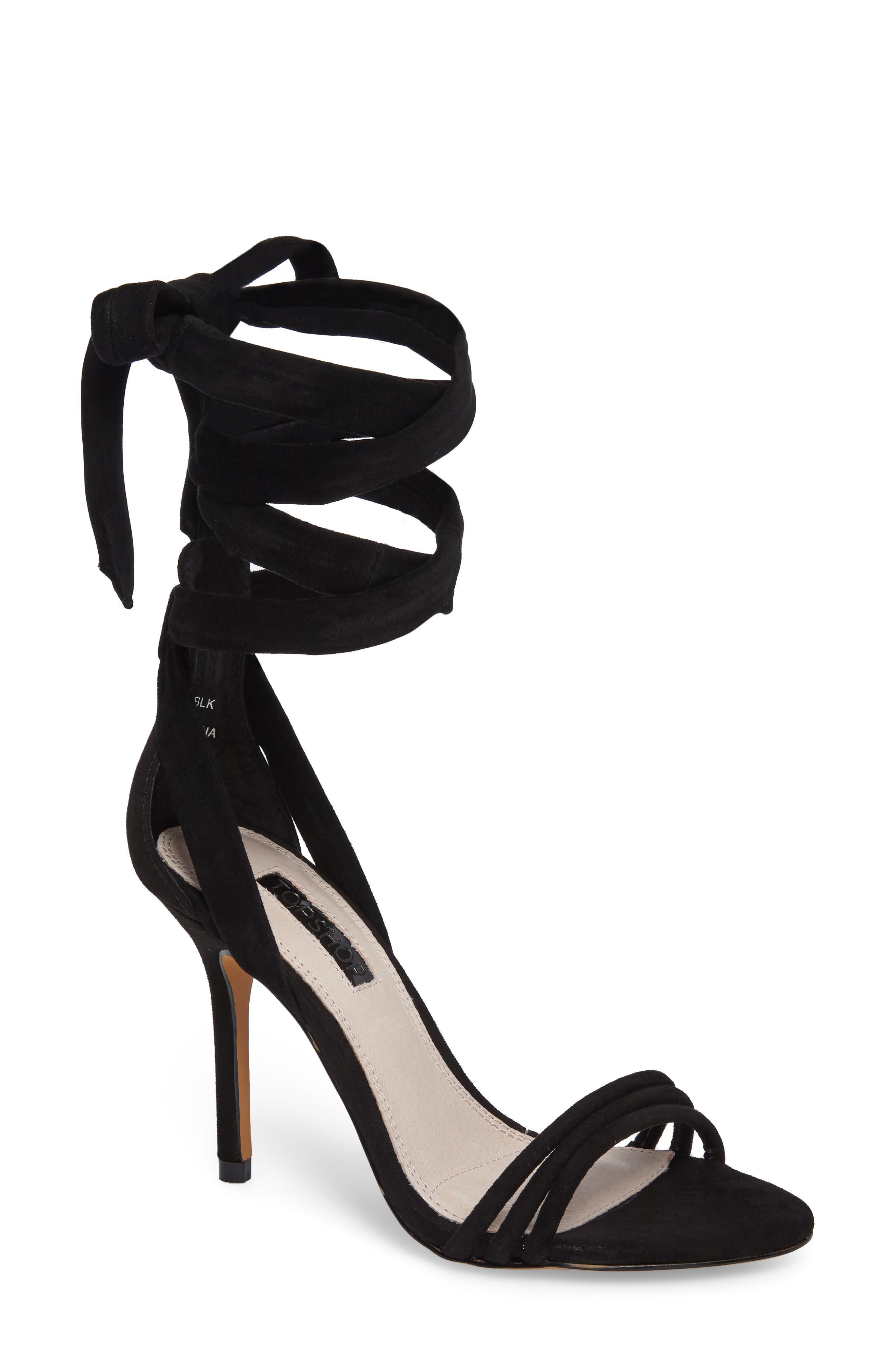 TOPSHOP Ramona Ankle Wrap Sandal, Main, color, 001