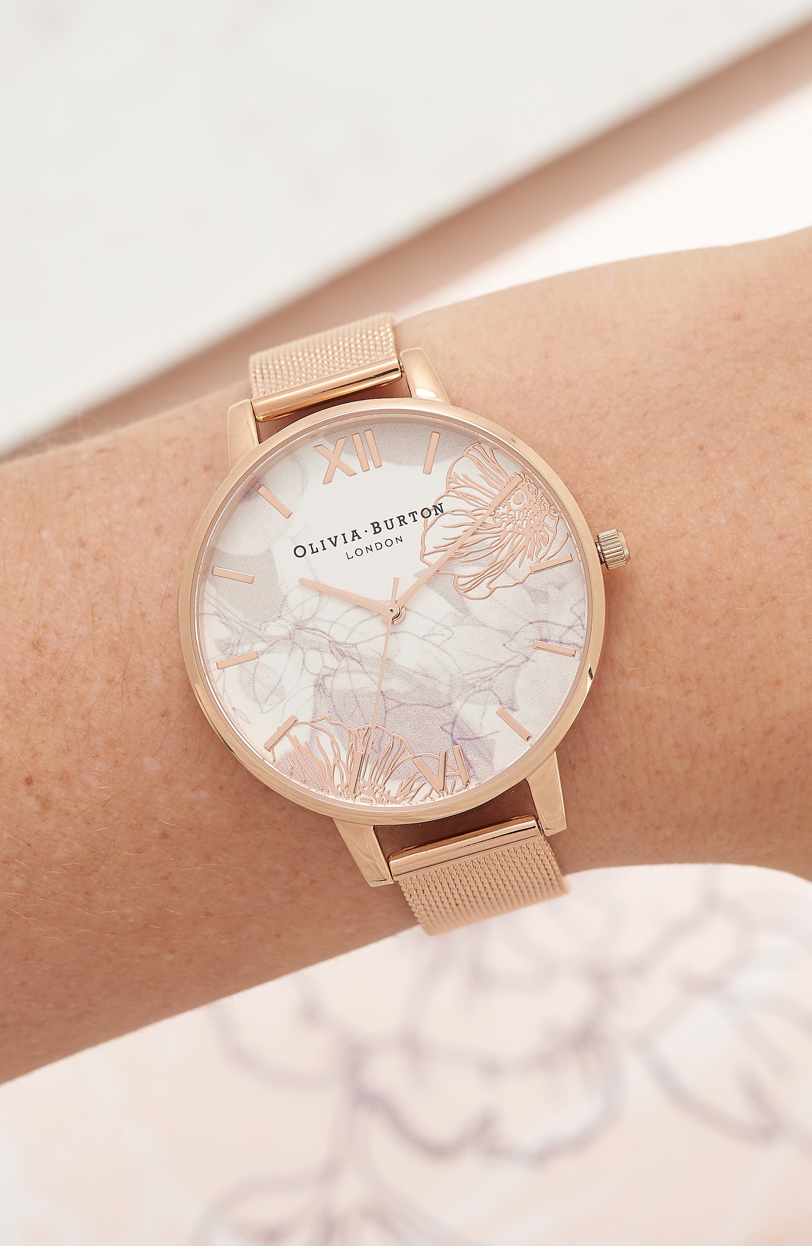 OLIVIA BURTON, Oliva Burton Abstract Florals Mesh Bracelet Watch, 38mm, Alternate thumbnail 2, color, ROSE GOLD