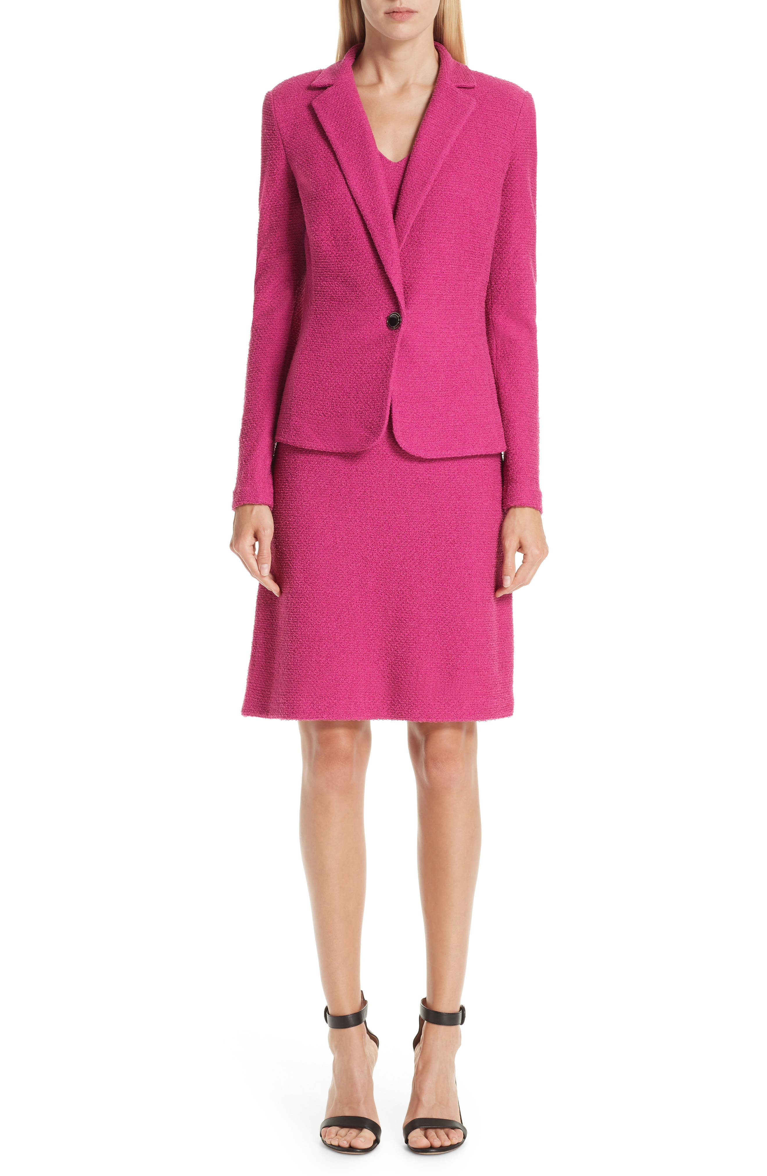 ST. JOHN COLLECTION, Refined Knit Jacket, Alternate thumbnail 9, color, CAMELLIA