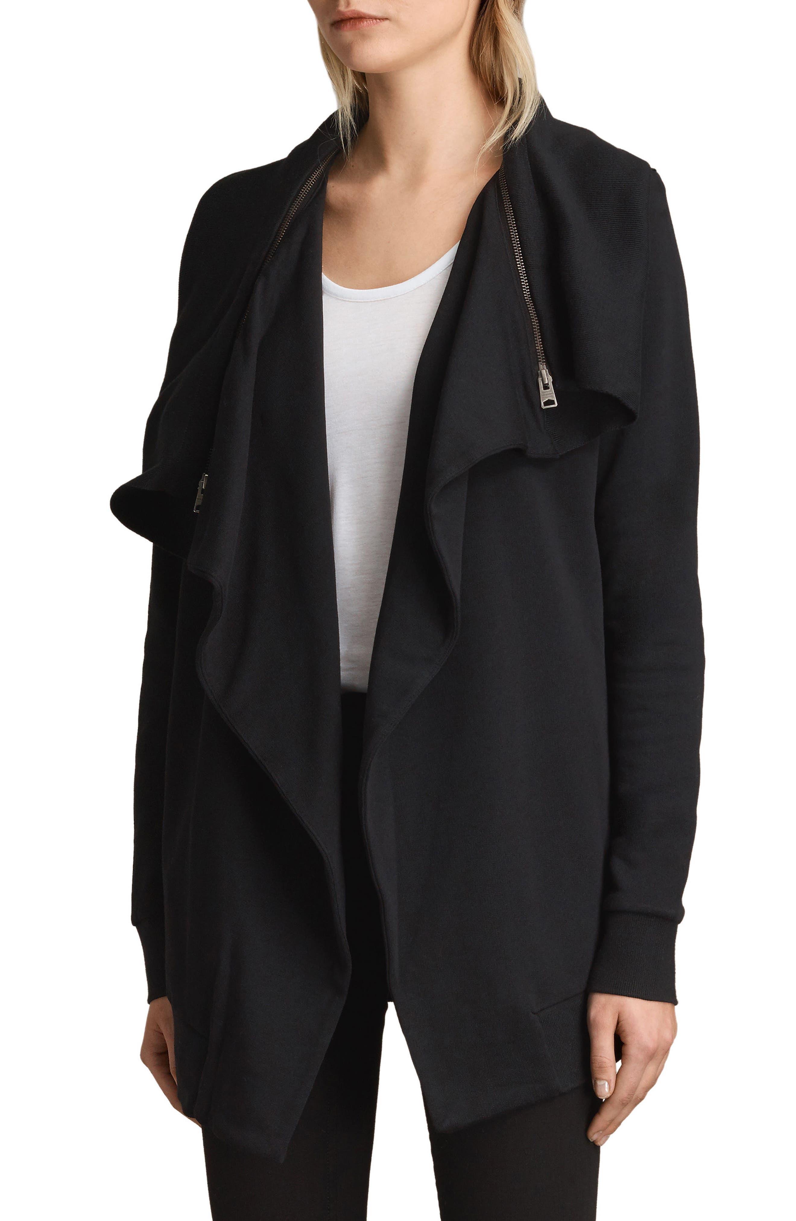 ALLSAINTS, Dahlia Sweatshirt, Alternate thumbnail 3, color, BLACK