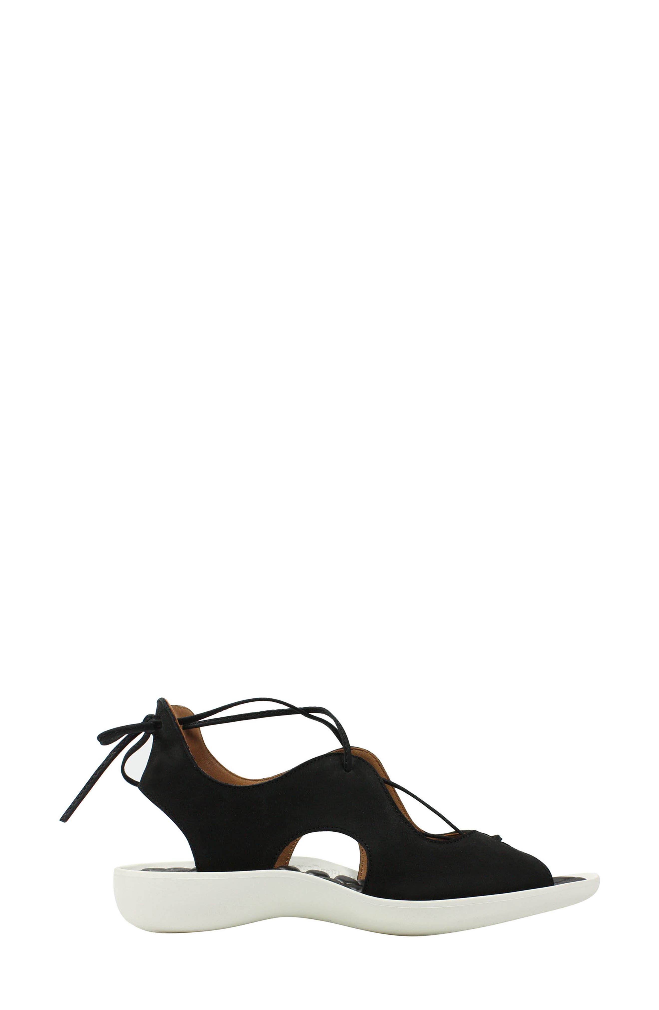 L'AMOUR DES PIEDS, Nesimah Lace-Up Sandal, Alternate thumbnail 2, color, BLACK NUBUCK LEATHER