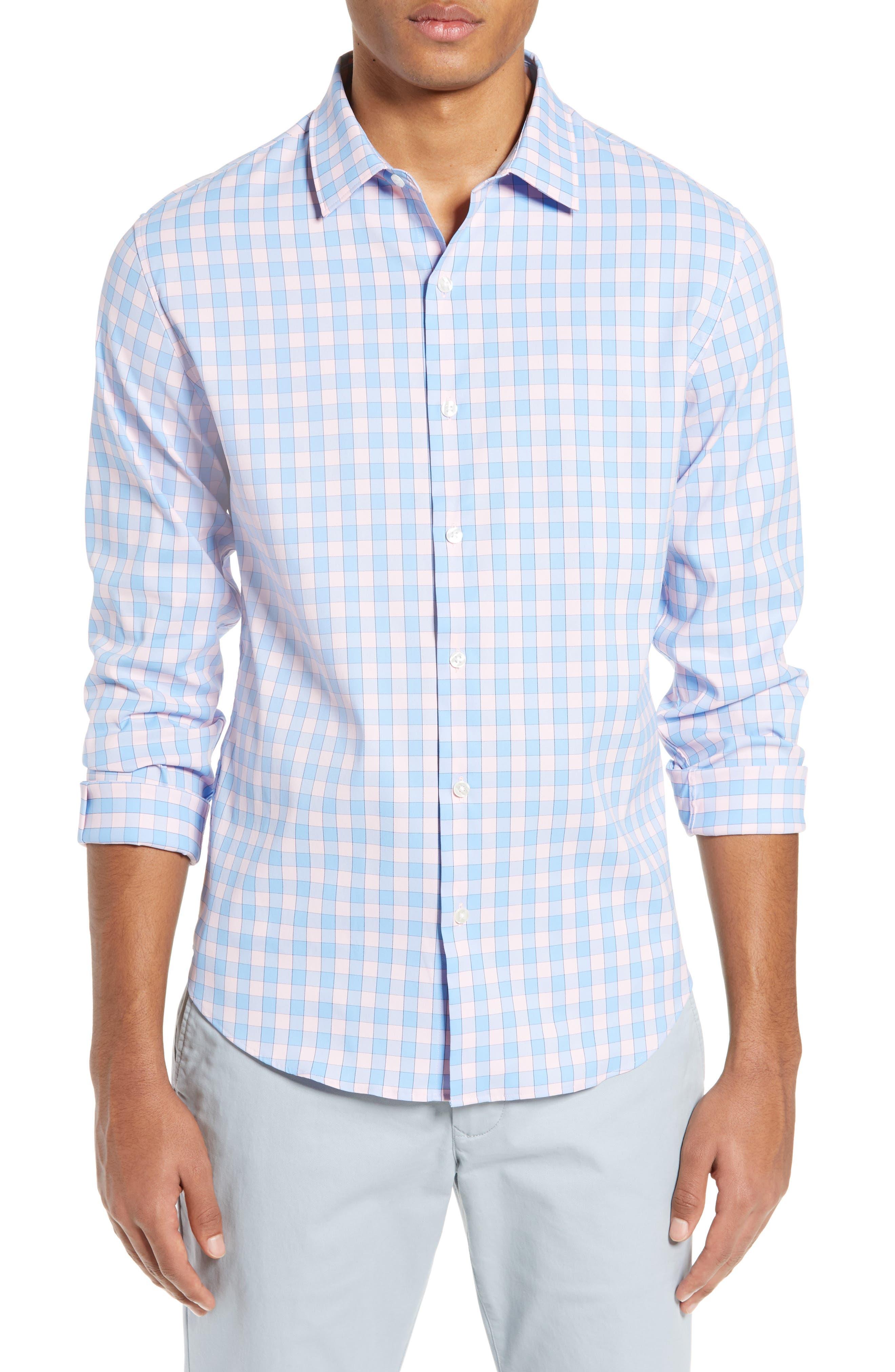 BONOBOS, Slim Fit Check Tech Sport Shirt, Main thumbnail 1, color, SAIL BOAT FIRST BLUSH
