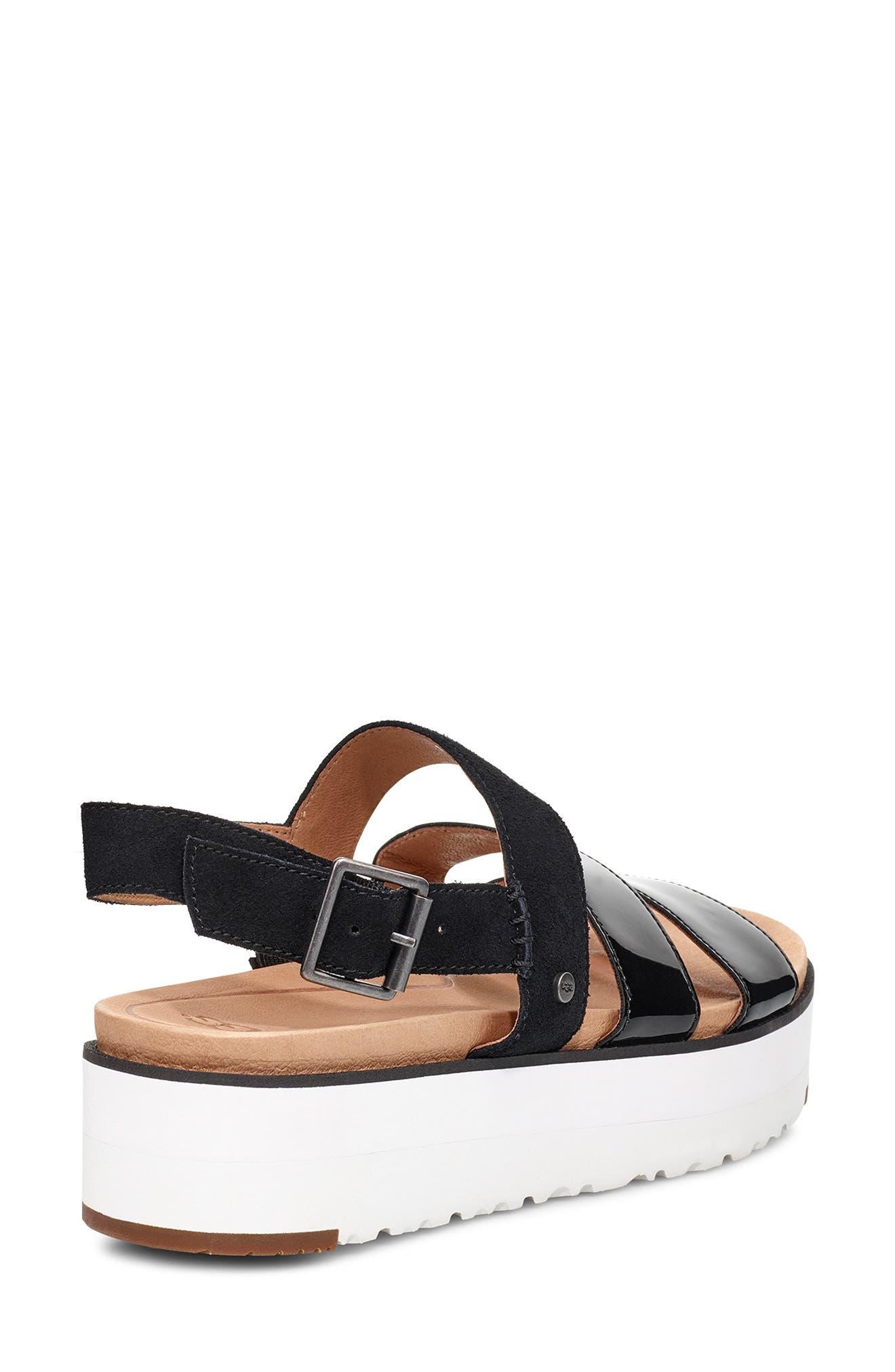 UGG<SUP>®</SUP>, Braelynn Flatform Sandal, Alternate thumbnail 2, color, BLACK LEATHER