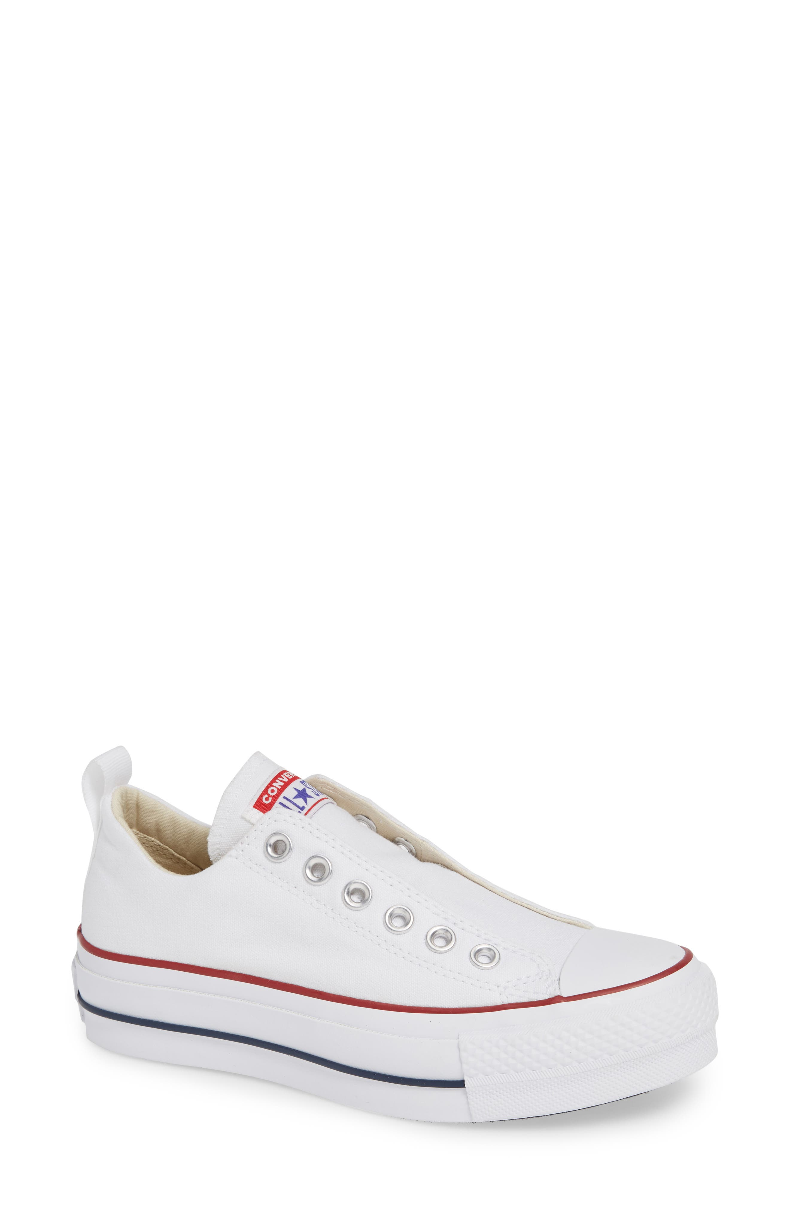 CONVERSE, Chuck Taylor<sup>®</sup> All Star<sup>®</sup> Low Top Sneaker, Main thumbnail 1, color, WHITE/ RED/ BLUE