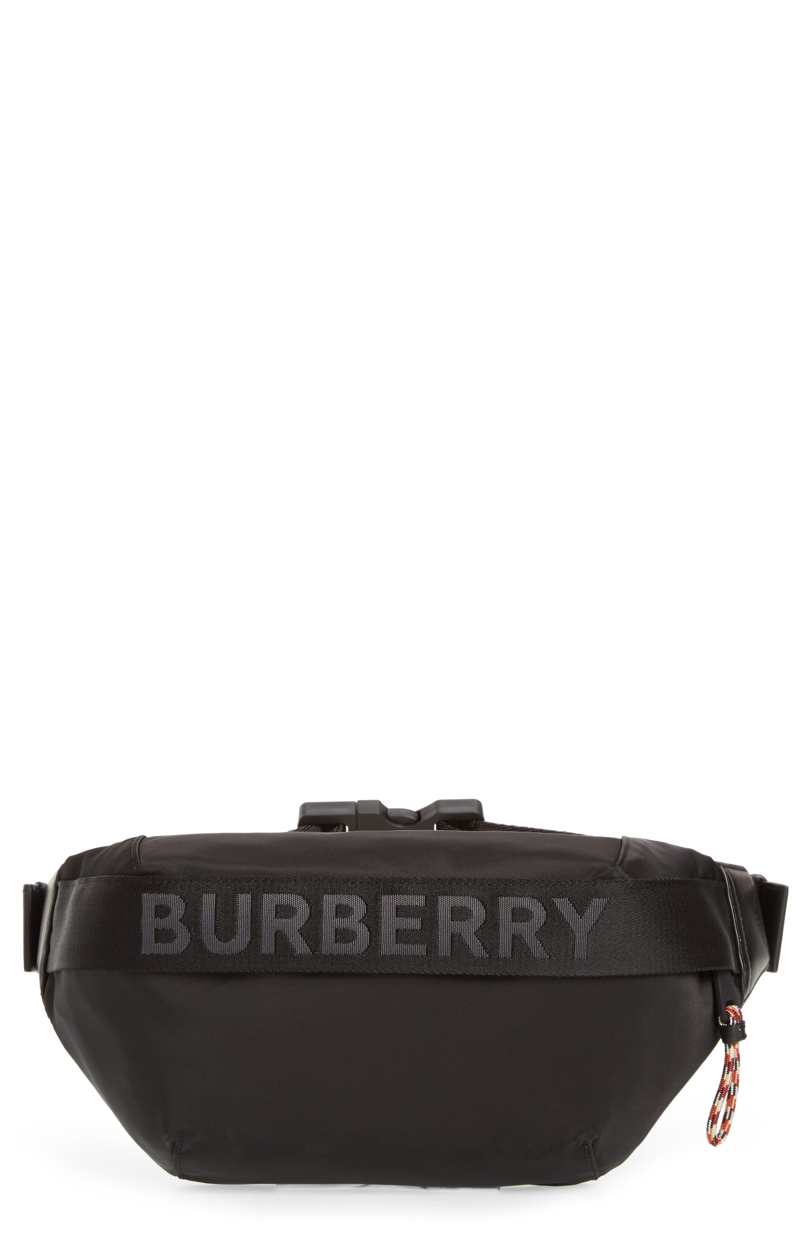 BURBERRY, Medium Sonny Logo Belt Bag, Main thumbnail 1, color, BLACK