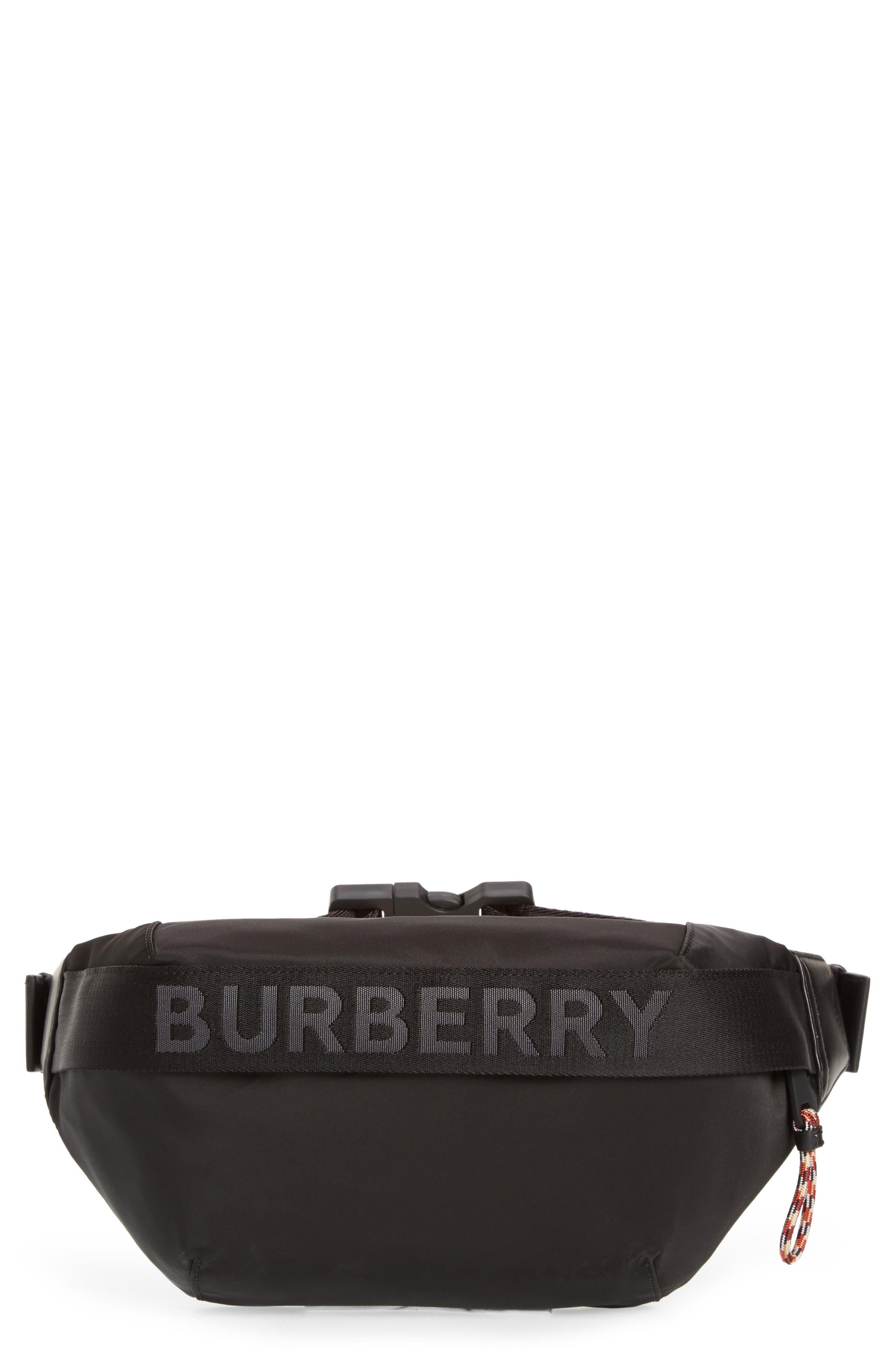 BURBERRY Medium Sonny Logo Belt Bag, Main, color, BLACK