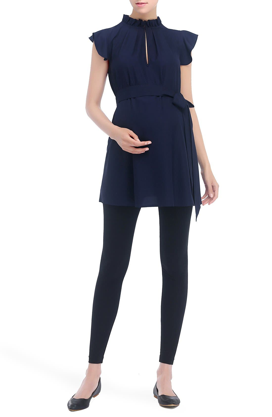 KIMI AND KAI, Karlena Flutter Sleeve Belted Maternity Top, Main thumbnail 1, color, NAVY