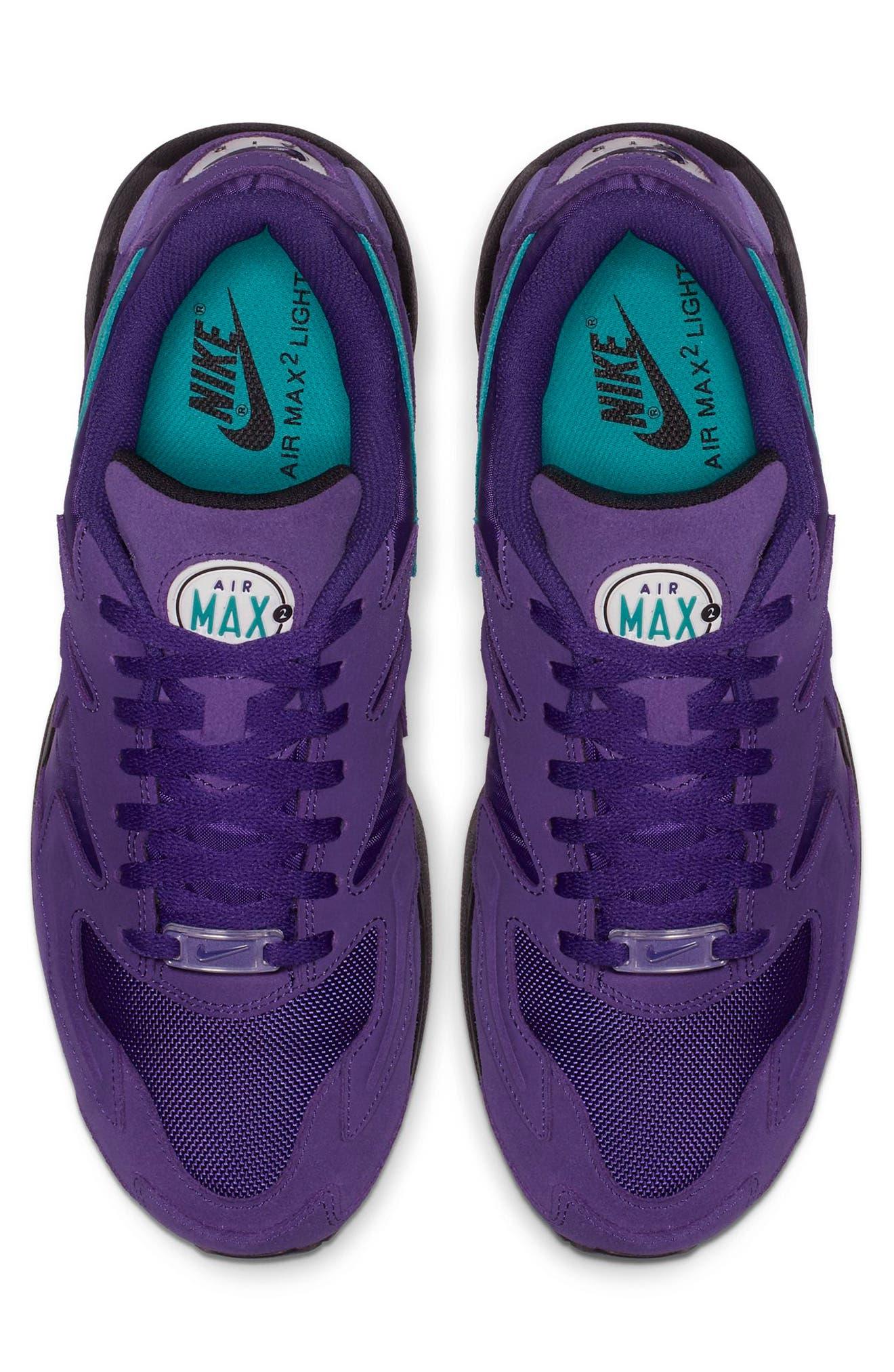 NIKE, Air Max2 Light Sneaker, Alternate thumbnail 4, color, PURPLE/ TEAL/ BLACK/ WHITE