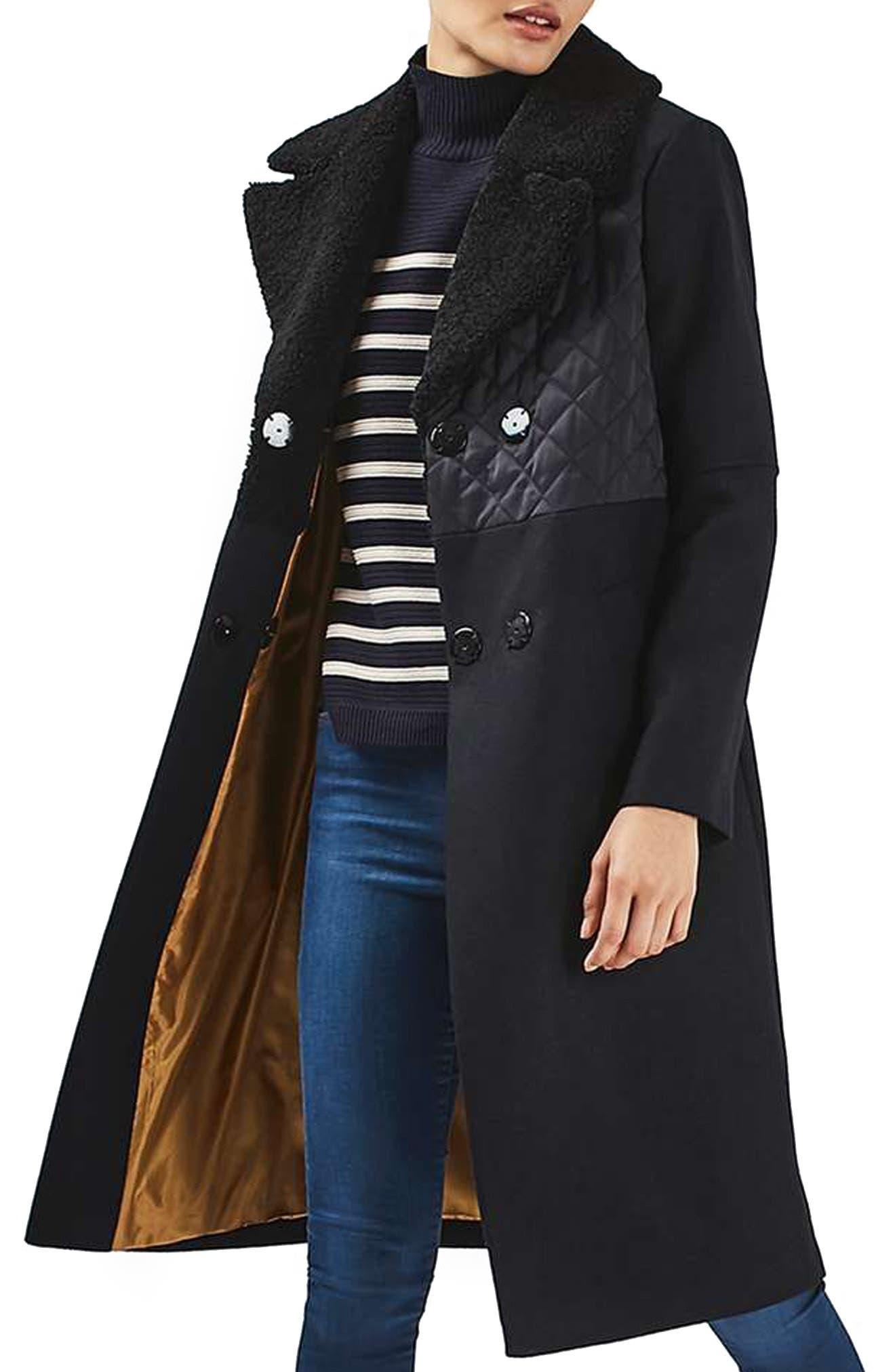 TOPSHOP Faux Shearling Collar Coat, Main, color, 410