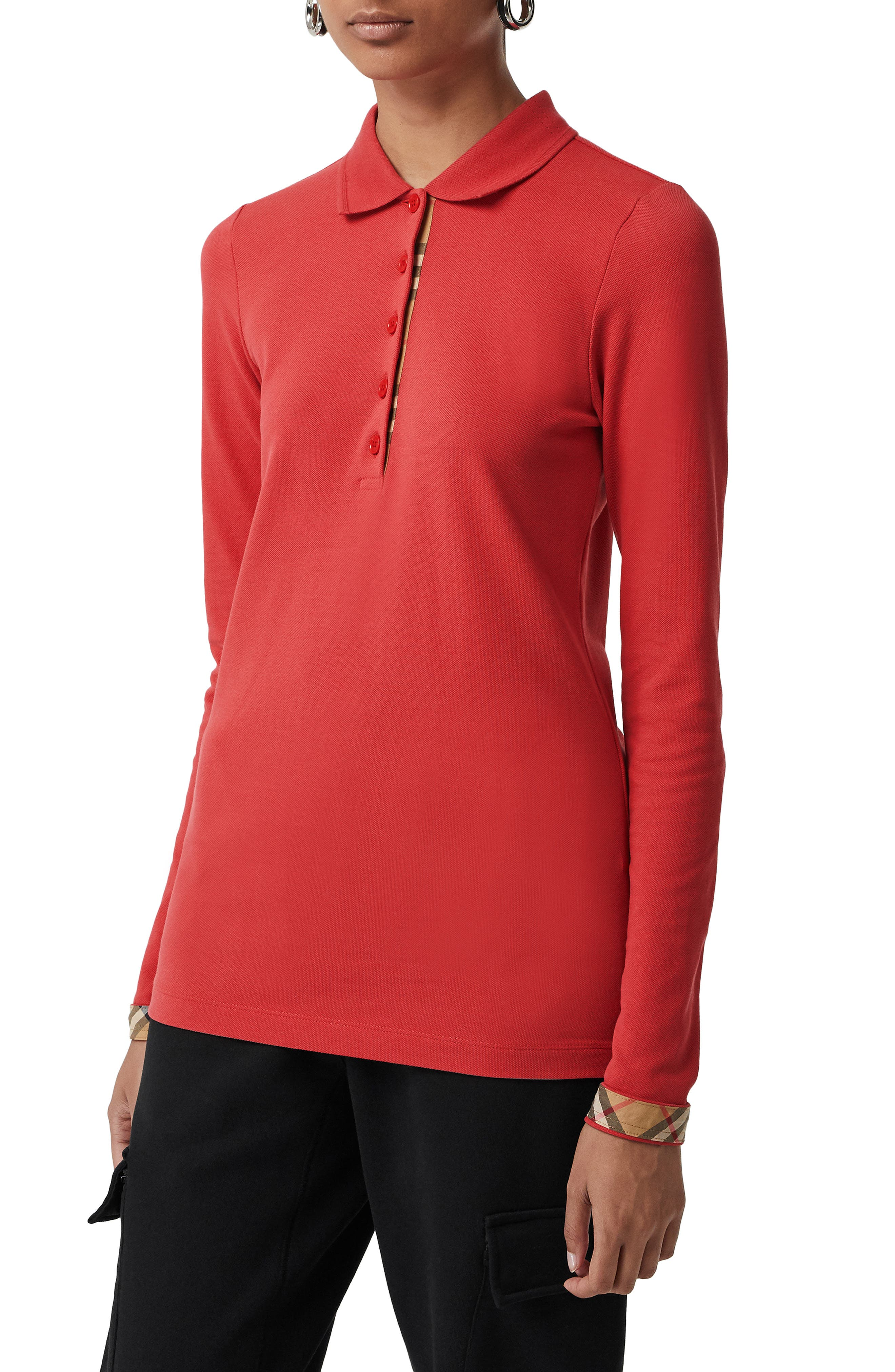 BURBERRY, Zulia Polo Shirt, Main thumbnail 1, color, BRIGHT RED