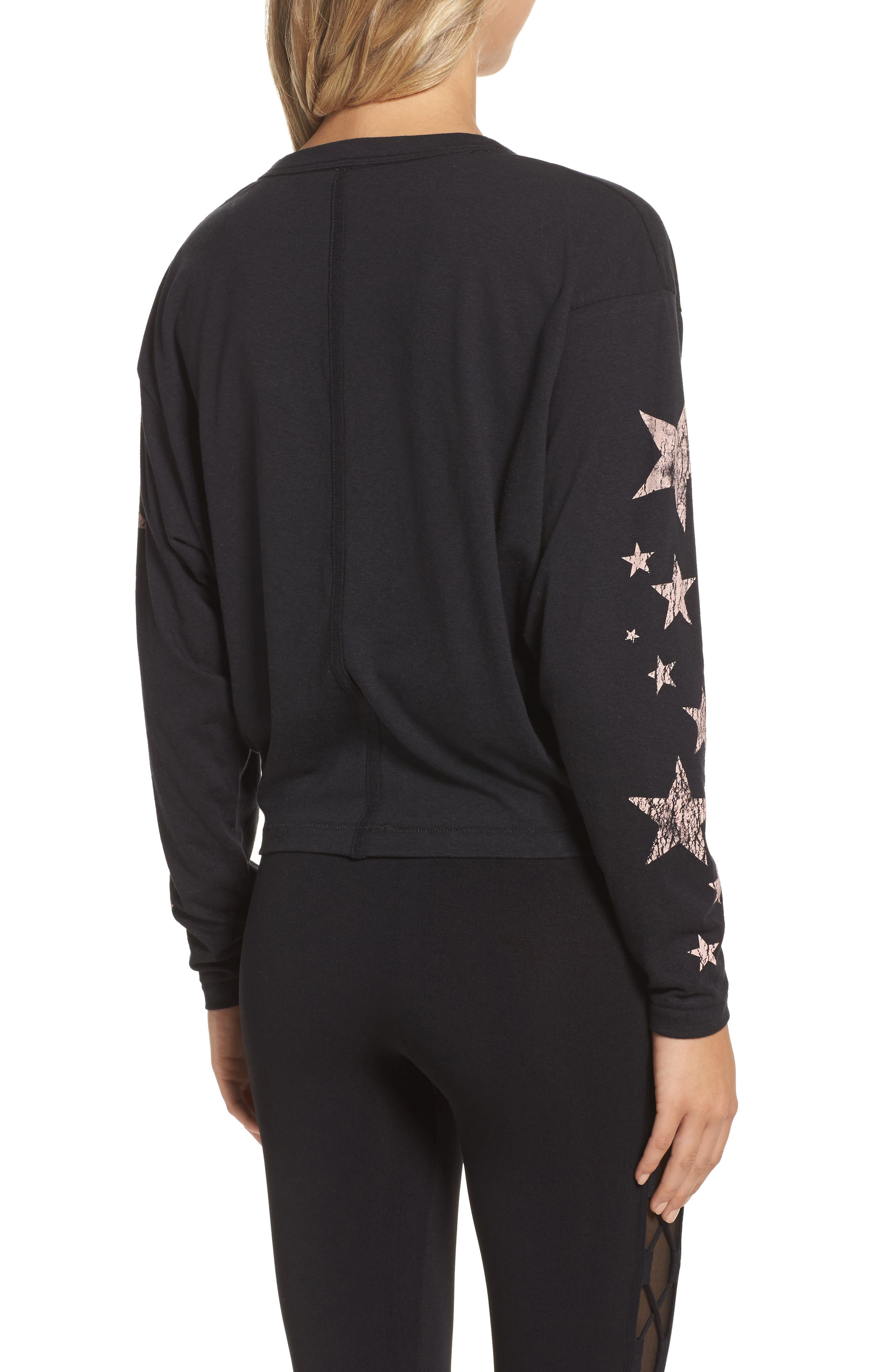 FREE PEOPLE MOVEMENT, Melrose Star Graphic Top, Alternate thumbnail 2, color, 001